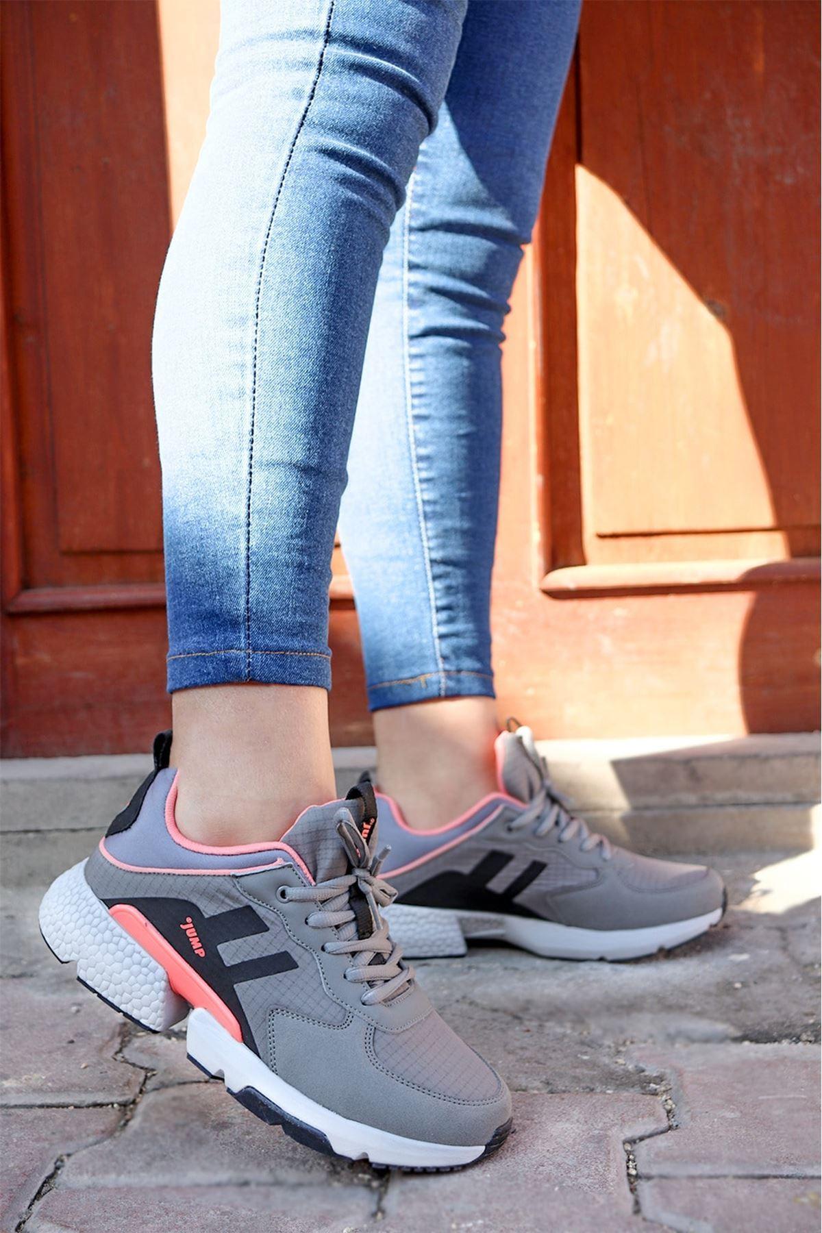 Jump - 25739 Gri Pembe Kadın Spor Ayakkabı