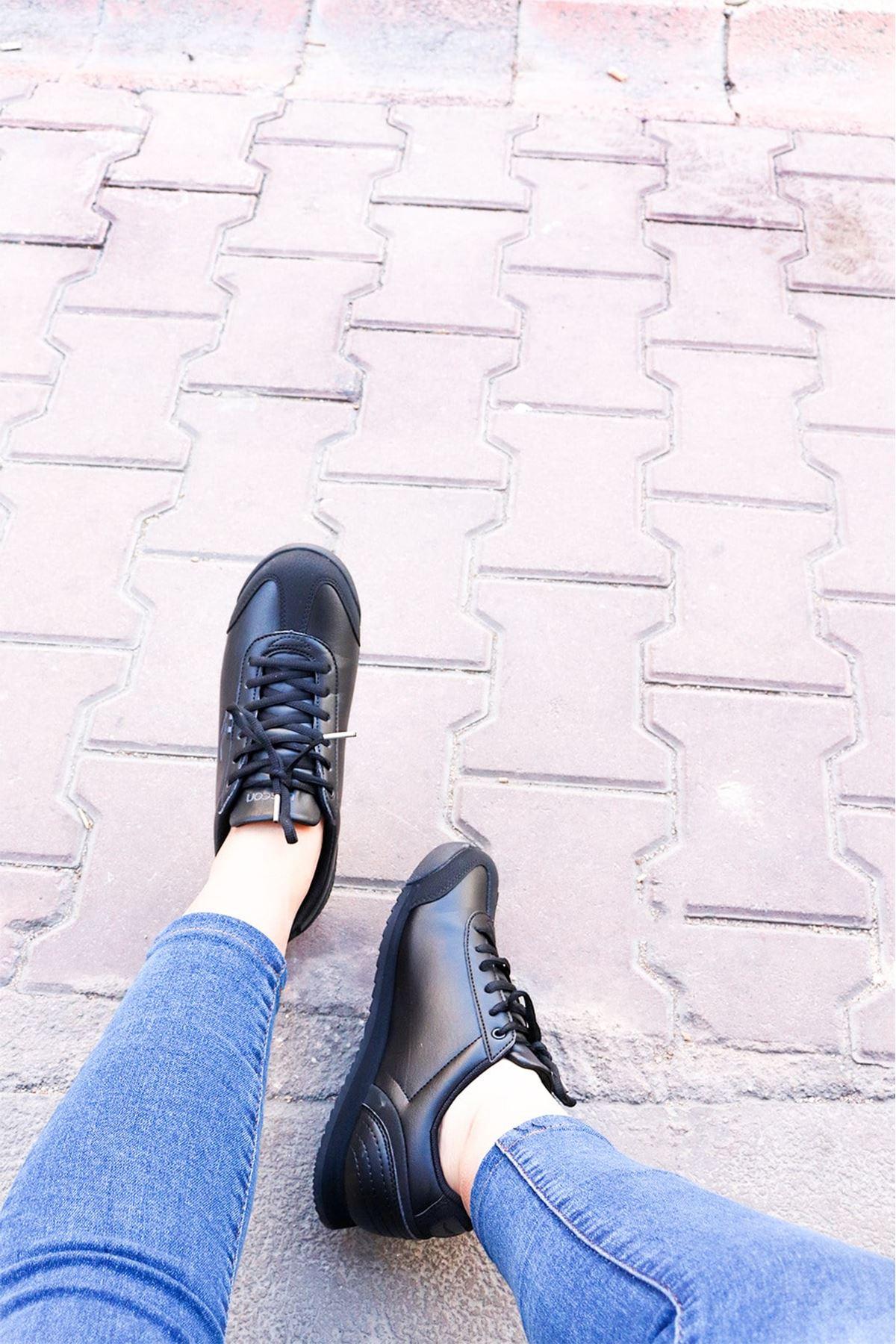 LESCON - WİNNER-3 Siyah Kadın Spor Ayakkabısı