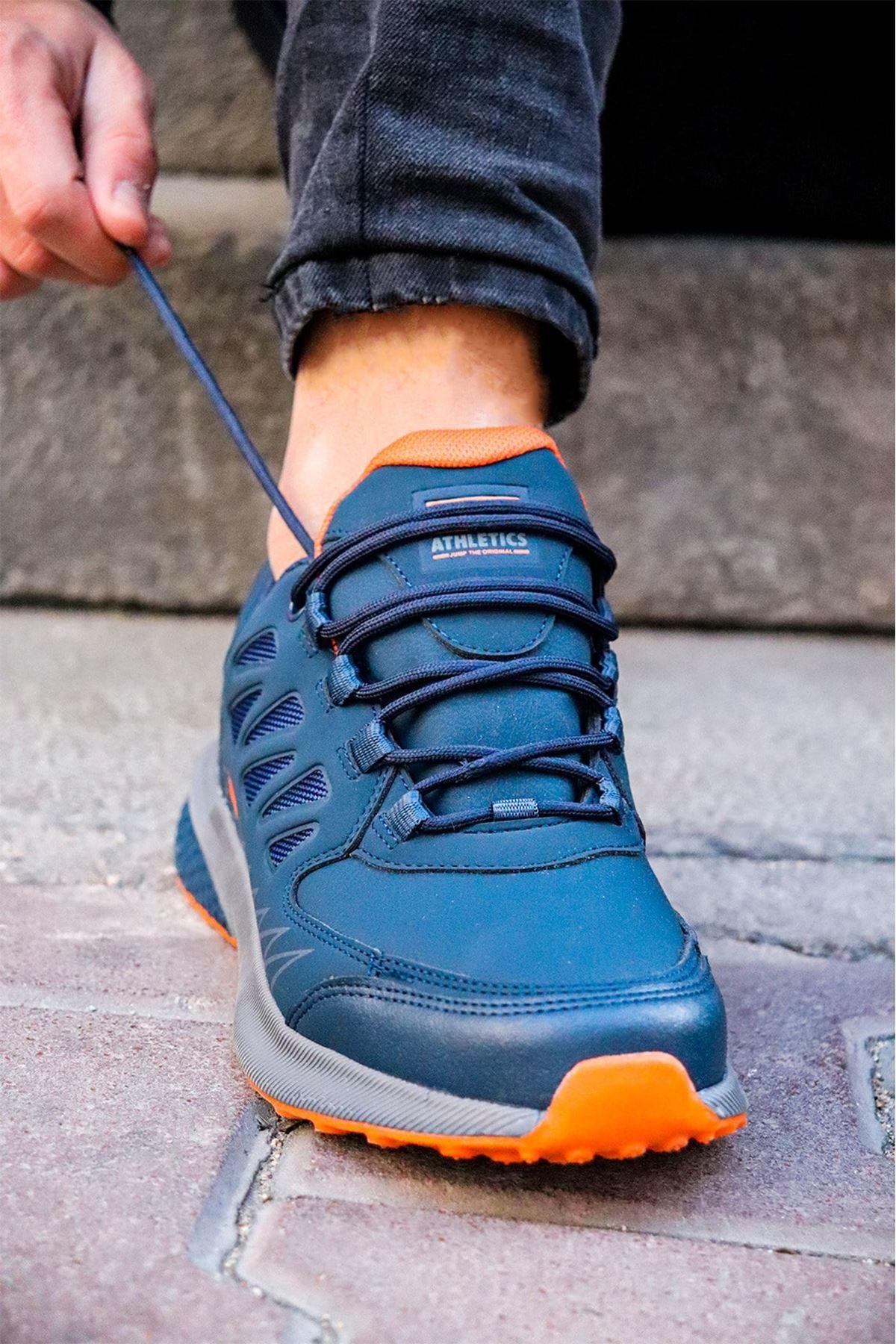 Jump - 25715 Turuncu Lacivert Erkek Spor Ayakkabısı