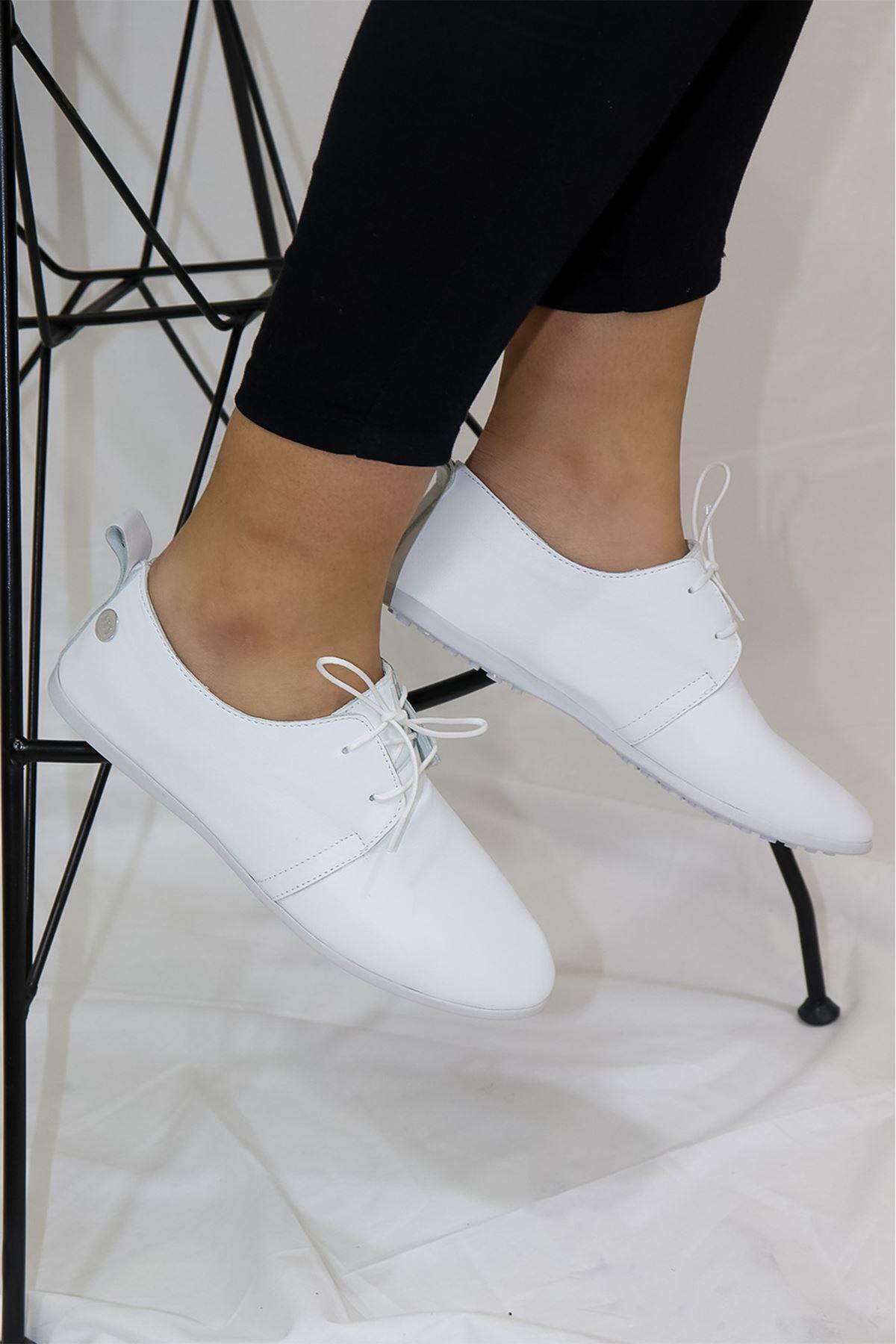 Mammamia - D21YA - 965-B Beyaz Casual Kadın Ayakkabısı