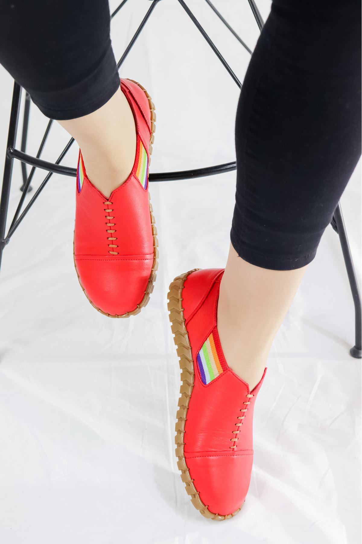 Venüs - 20107034 Kırmızı Lastikli Kadın Ayakkabısı