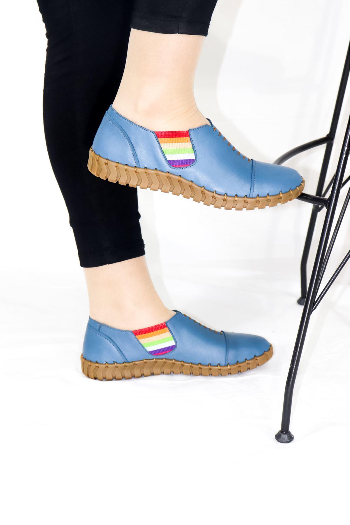 Venüs - 20107034 Mavi Lastikli Kadın Ayakkabısı