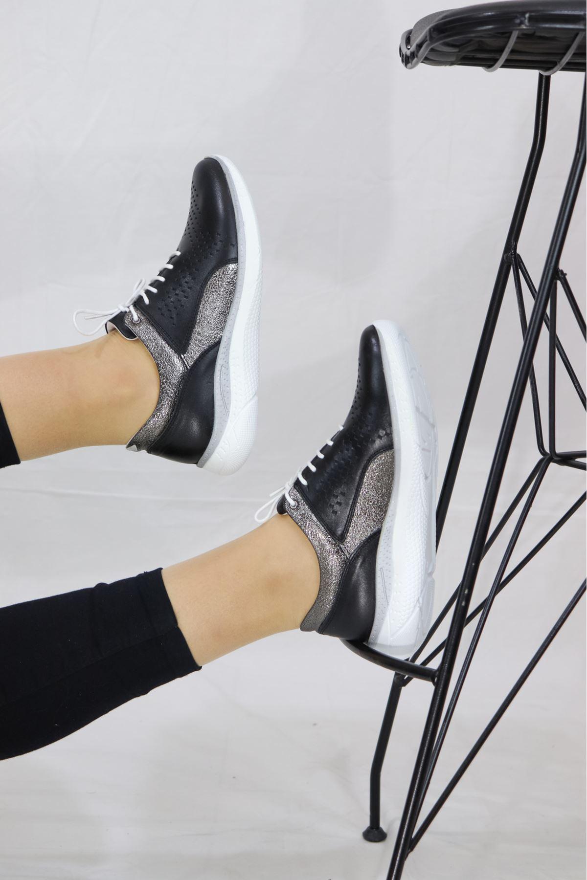 Venüs - 13789Y - Siyah Platin Kadın Ayakkabısı
