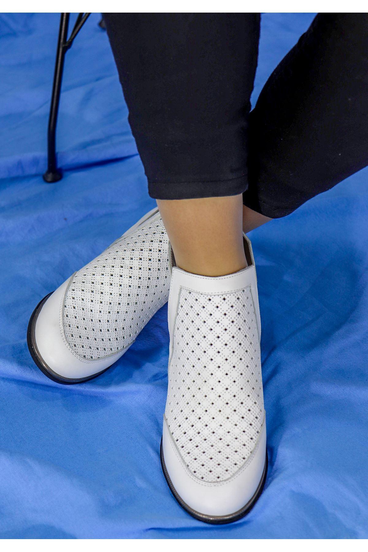 Mammamia - D21YA - 3040-B Beyaz Topuklu Kadın Ayakkabı
