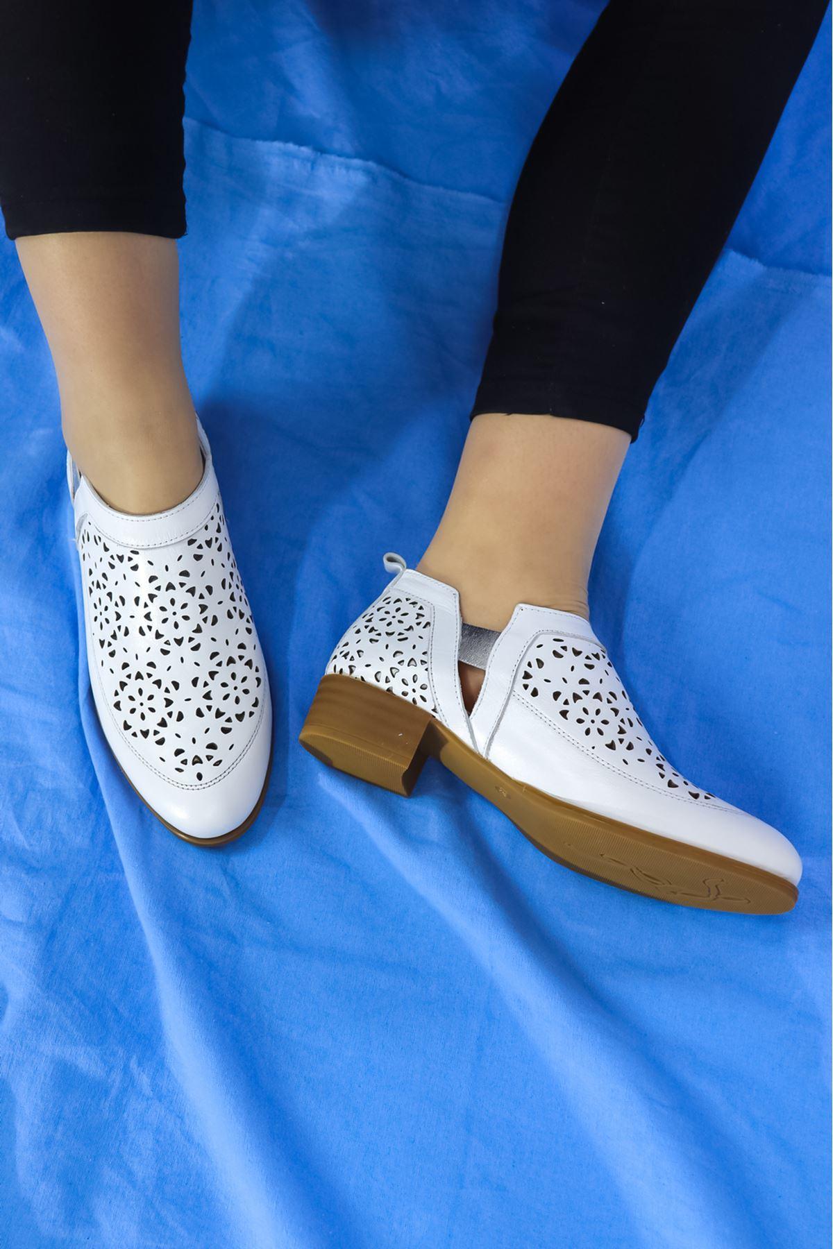Mammamia - D21YA - 455-B Beyaz Kadın Ayakkabısı