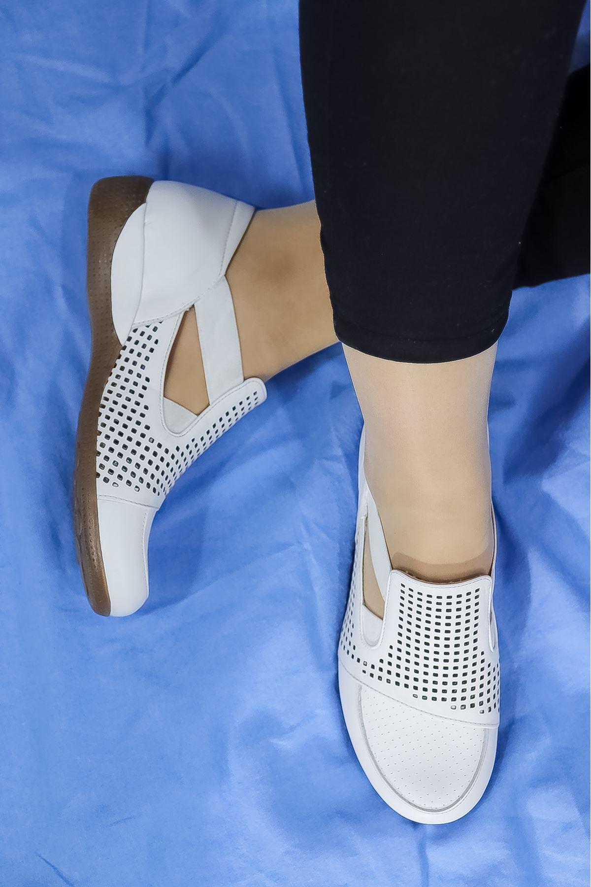 Mammamia - D21YA - 3055-B Beyaz Kadın Ayakkabısı
