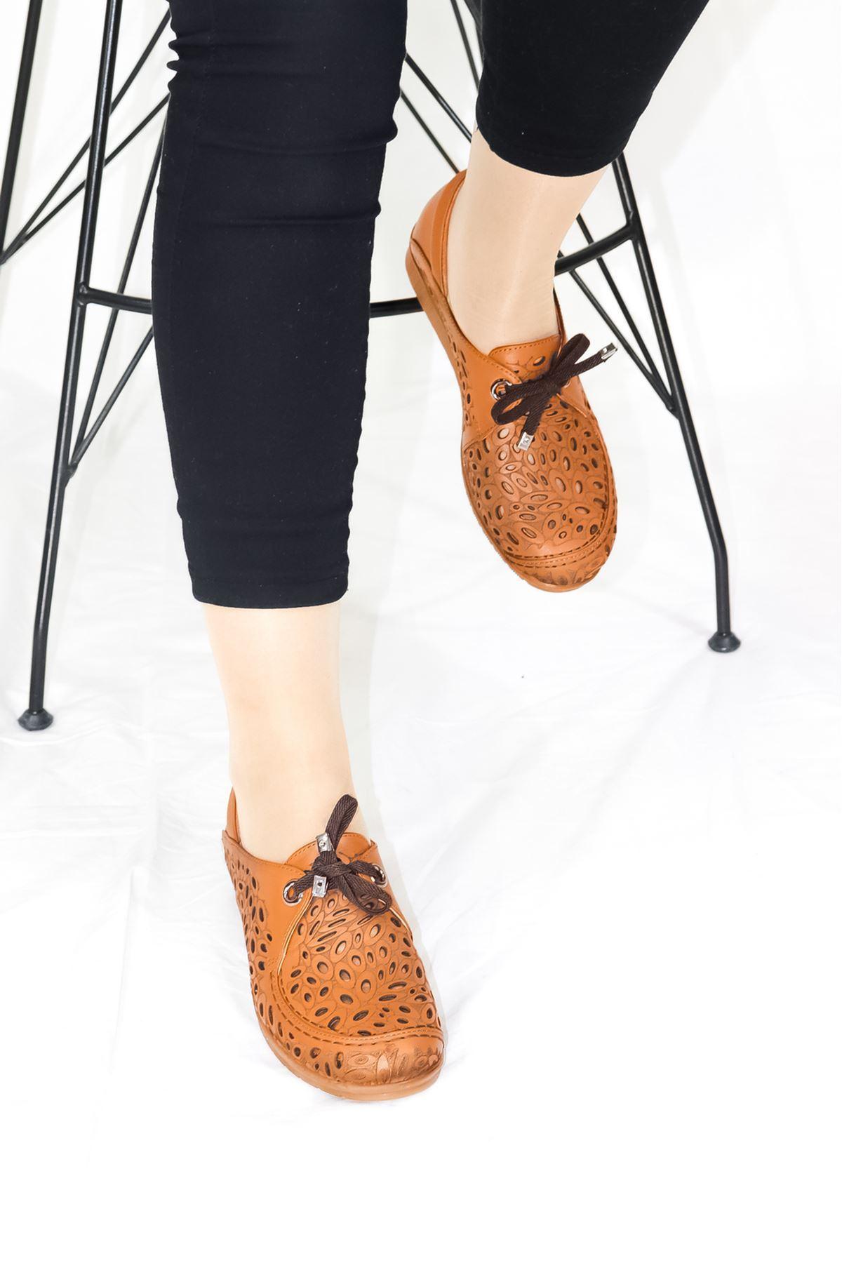 Mammamia - D21YA - 435 Taba Bağcık Detaylı Kadın Ayakkabısı