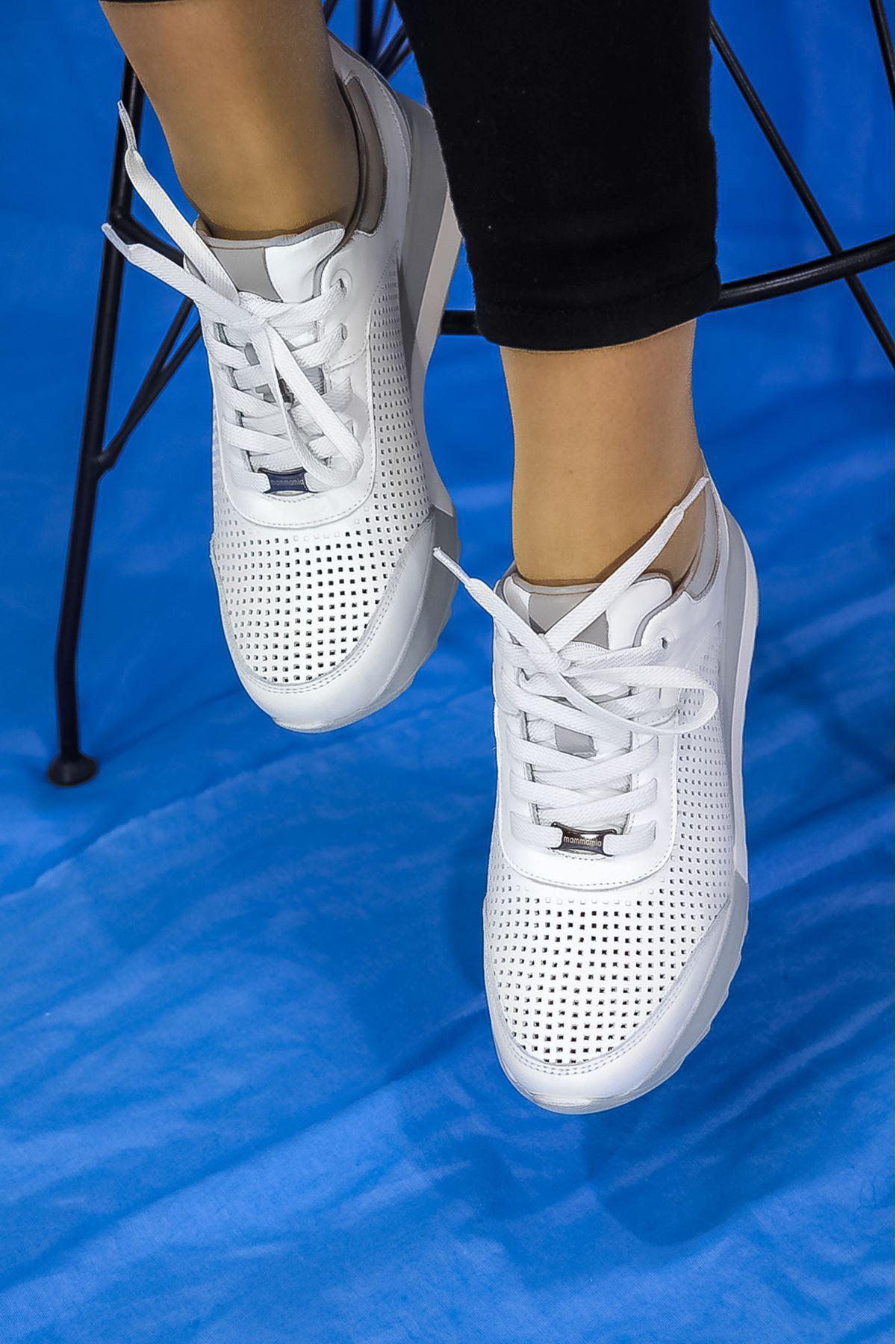 Mammamia - D21YA - 3265-B Beyaz spor Kadın Ayakkabısı