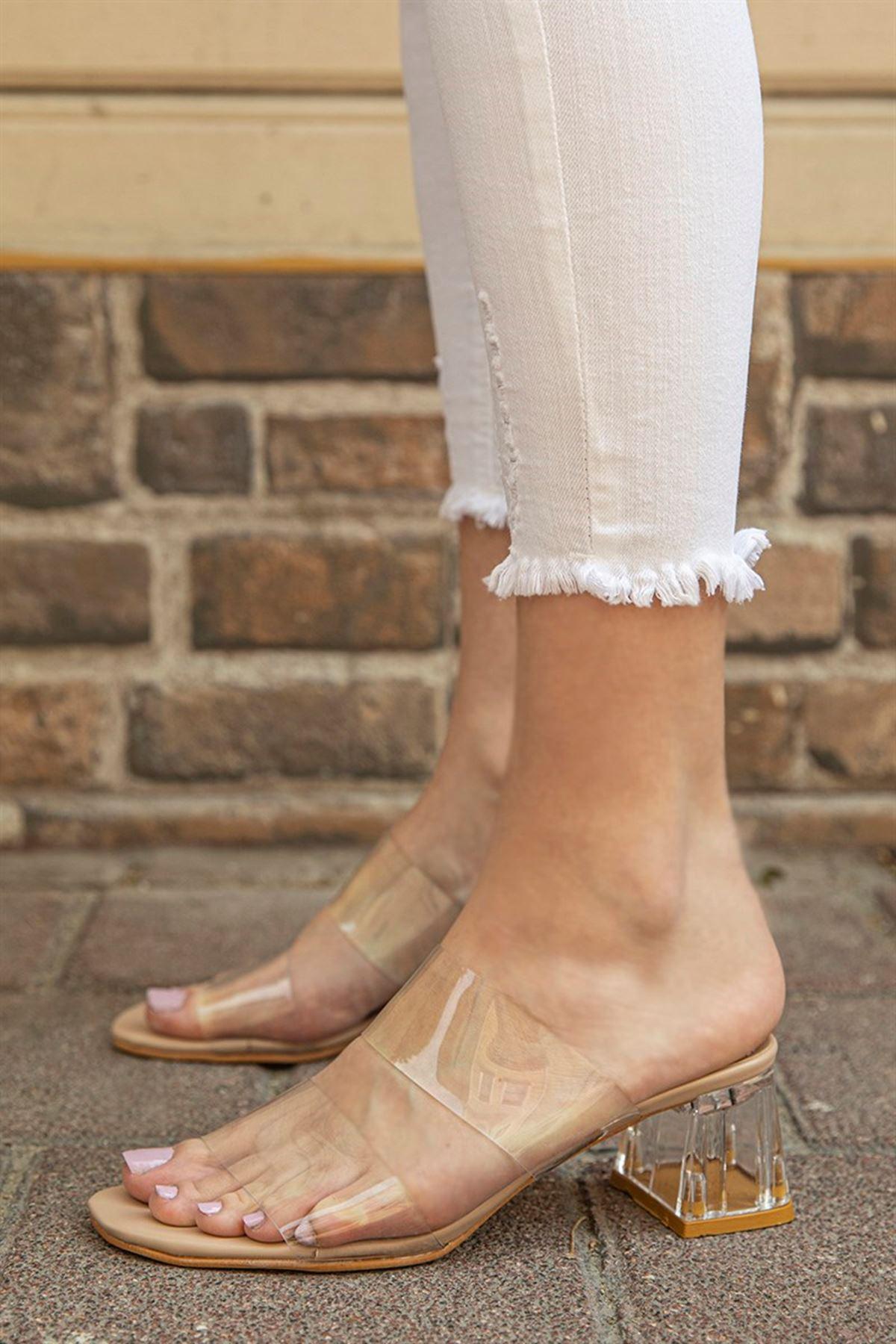 Trendayakkabı - Ten Kadın Şeffaf Topuklu Terlik