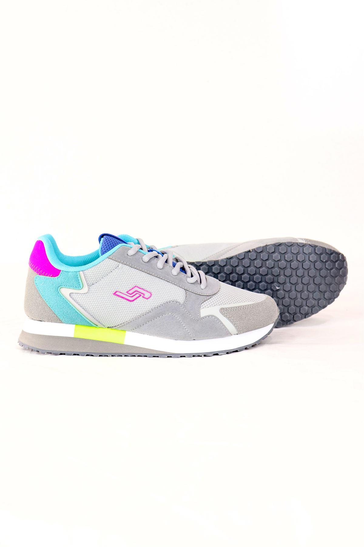 Jump - 26252 - Gri Yeşil/Mavi Detaylı Kadın Spor Ayakkabısı