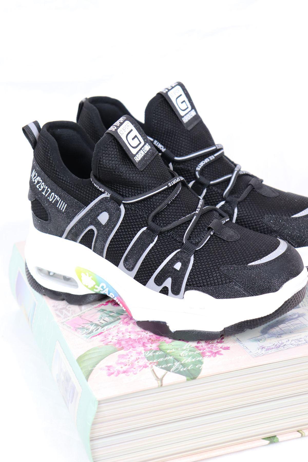 Guja - 21Y300-12 Siyah Air Taban Fosfor Detaylı Kadın Sneakers