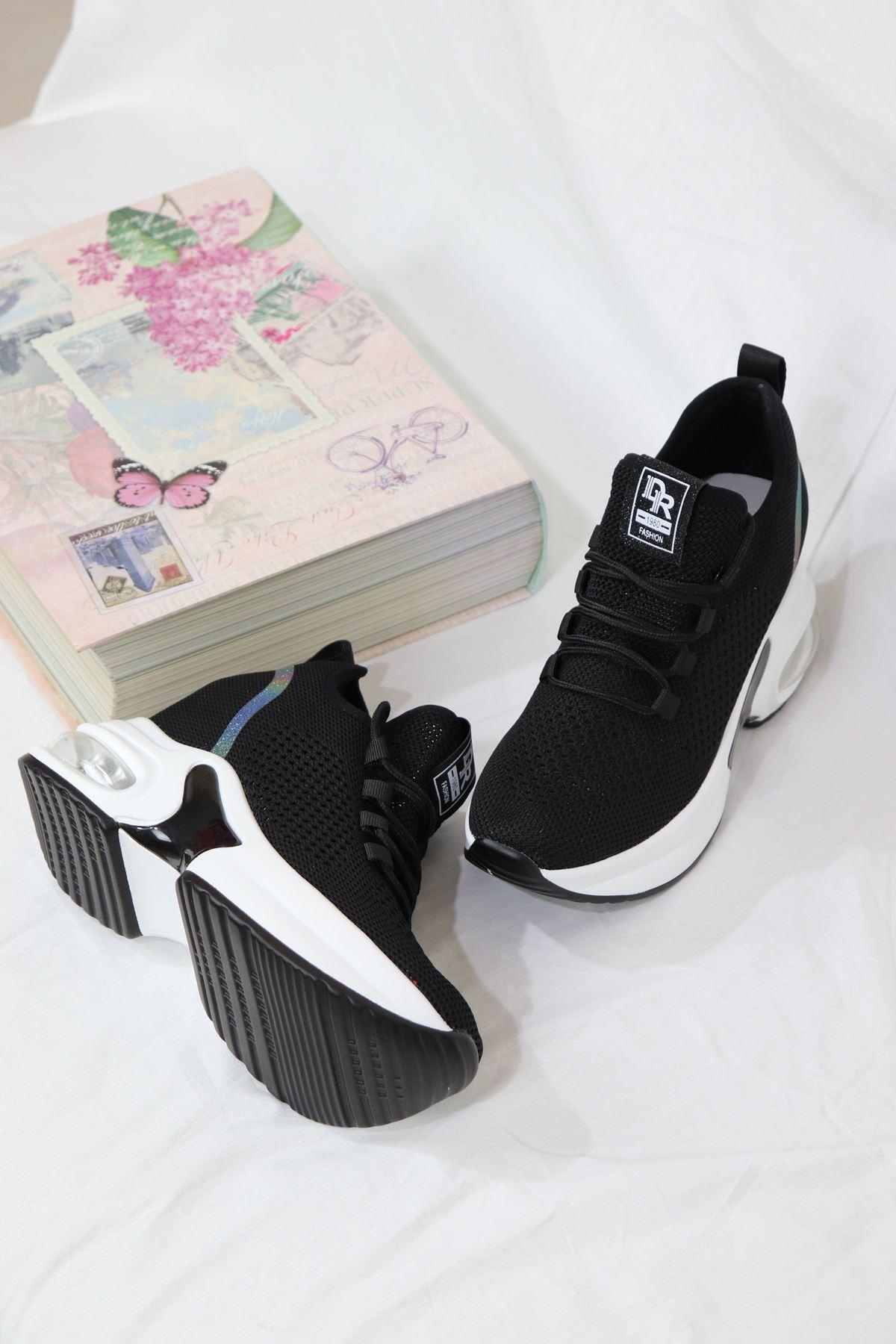 Guja - 21Y300-6 Siyah Triko Air Taban Kadın Sneakers