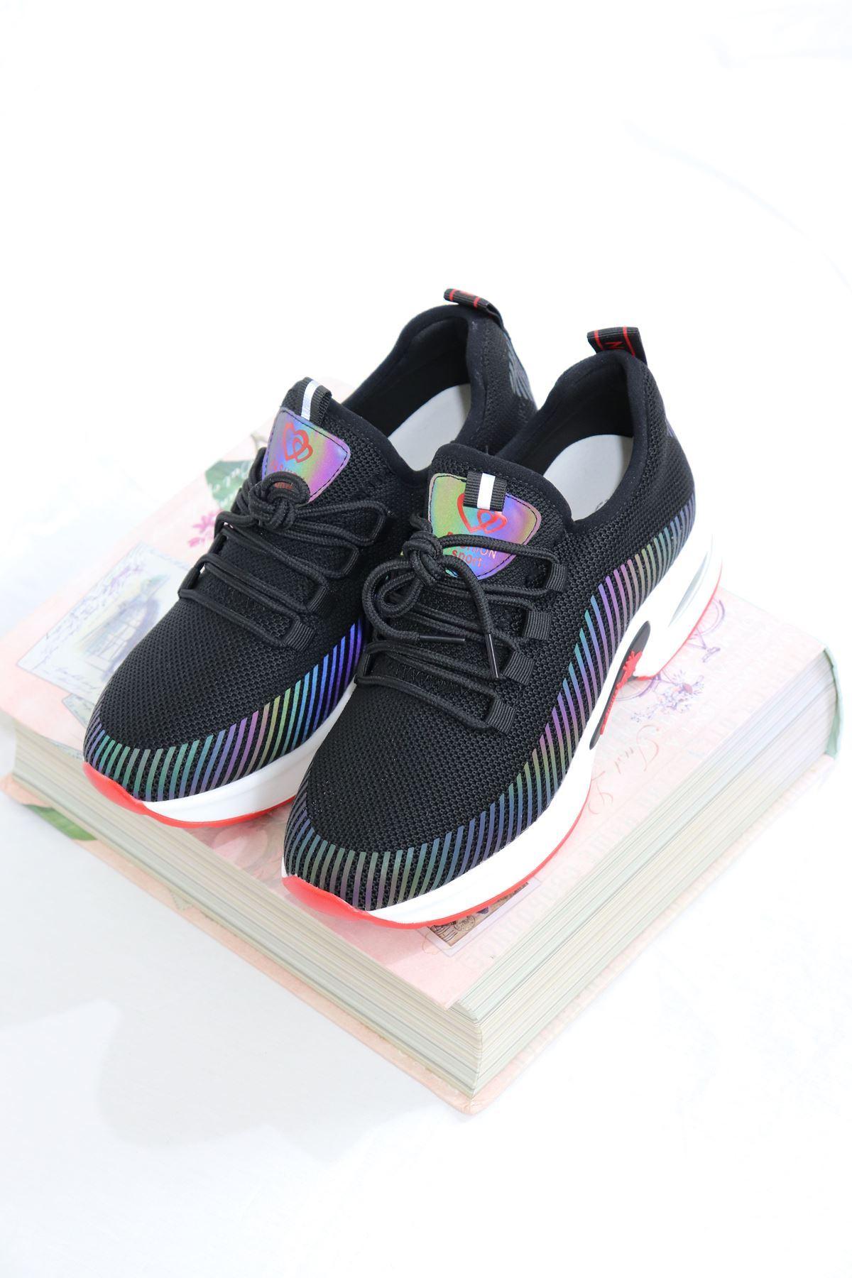 Guja - 21Y301-1 Siyah Air Taban Fileli Kadın Sneakers
