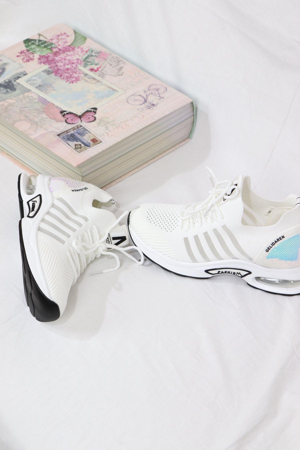 Guja - 21Y301-8 Beyaz Air Taban Triko Kadın Sneakers
