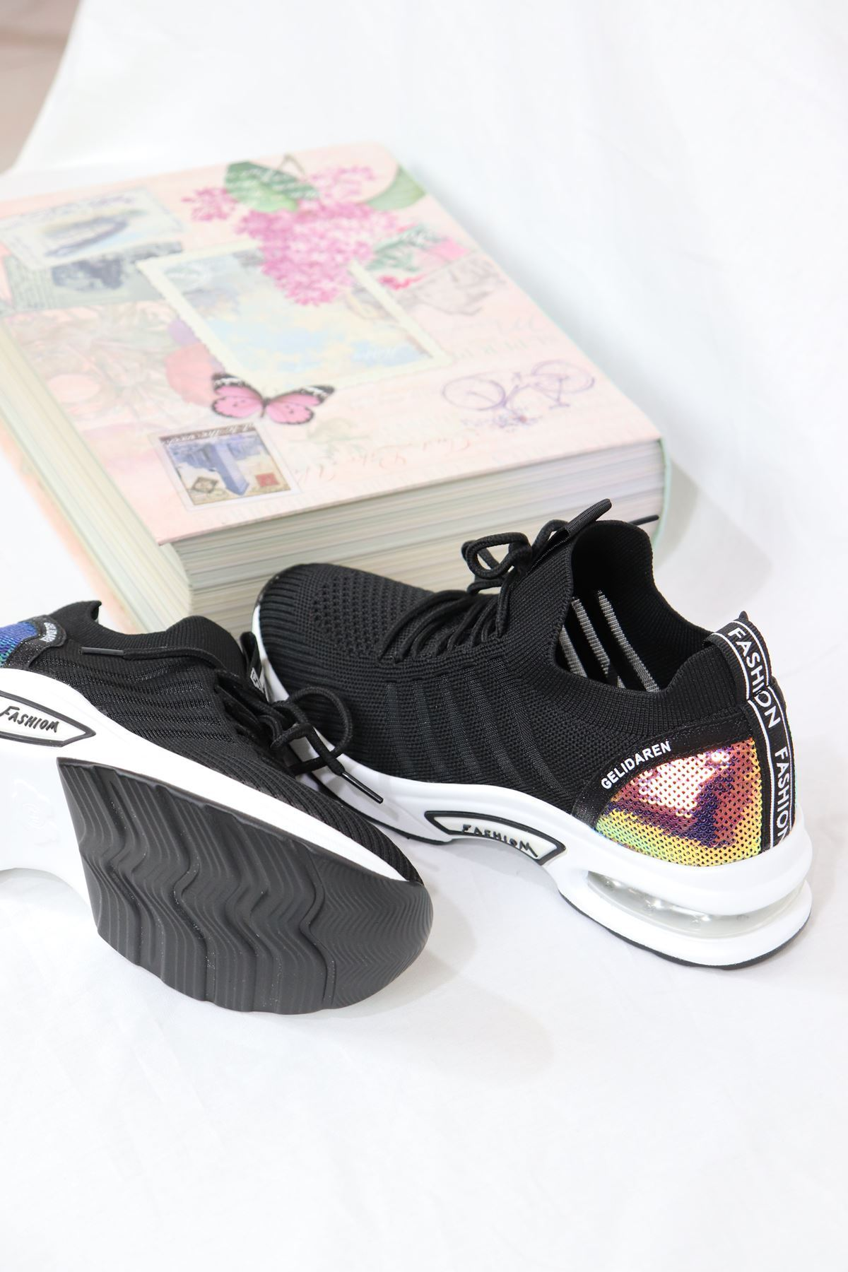 Guja - 21Y301-8 Siyah Air Taban Triko Kadın Sneakers