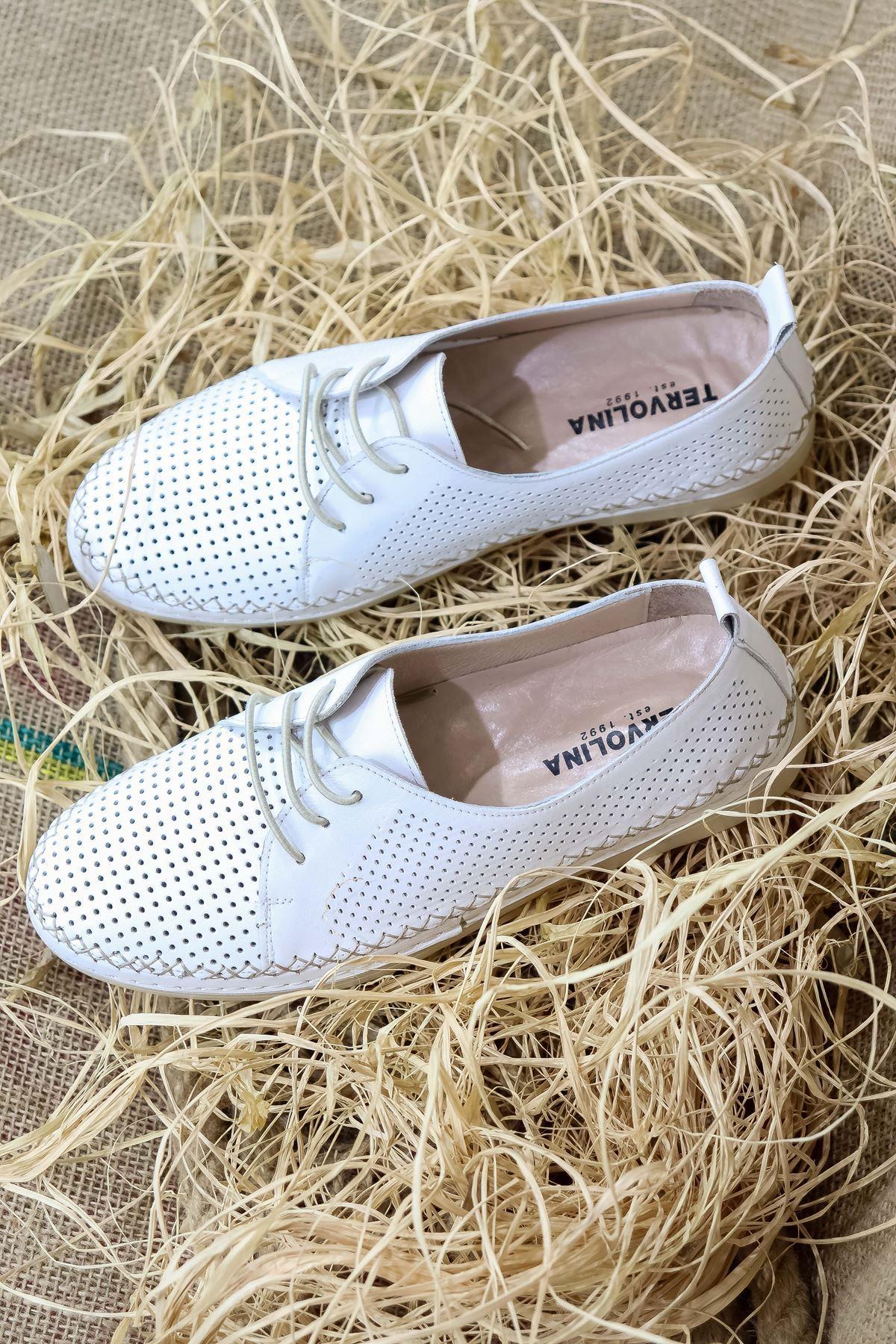 Trendayakkabı - Beyaz Hakiki Deri Kadın Ayakkabısı