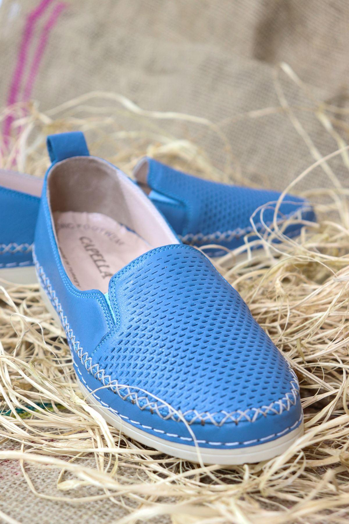 Trendayakkabı - Mavi Deri Kadın Ayakkabısı