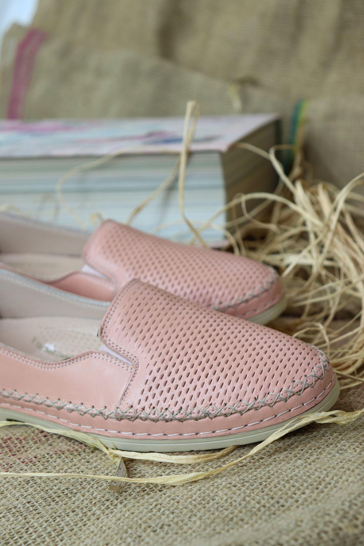 Trendayakkabı - Pudra Deri Kadın Ayakkabısı