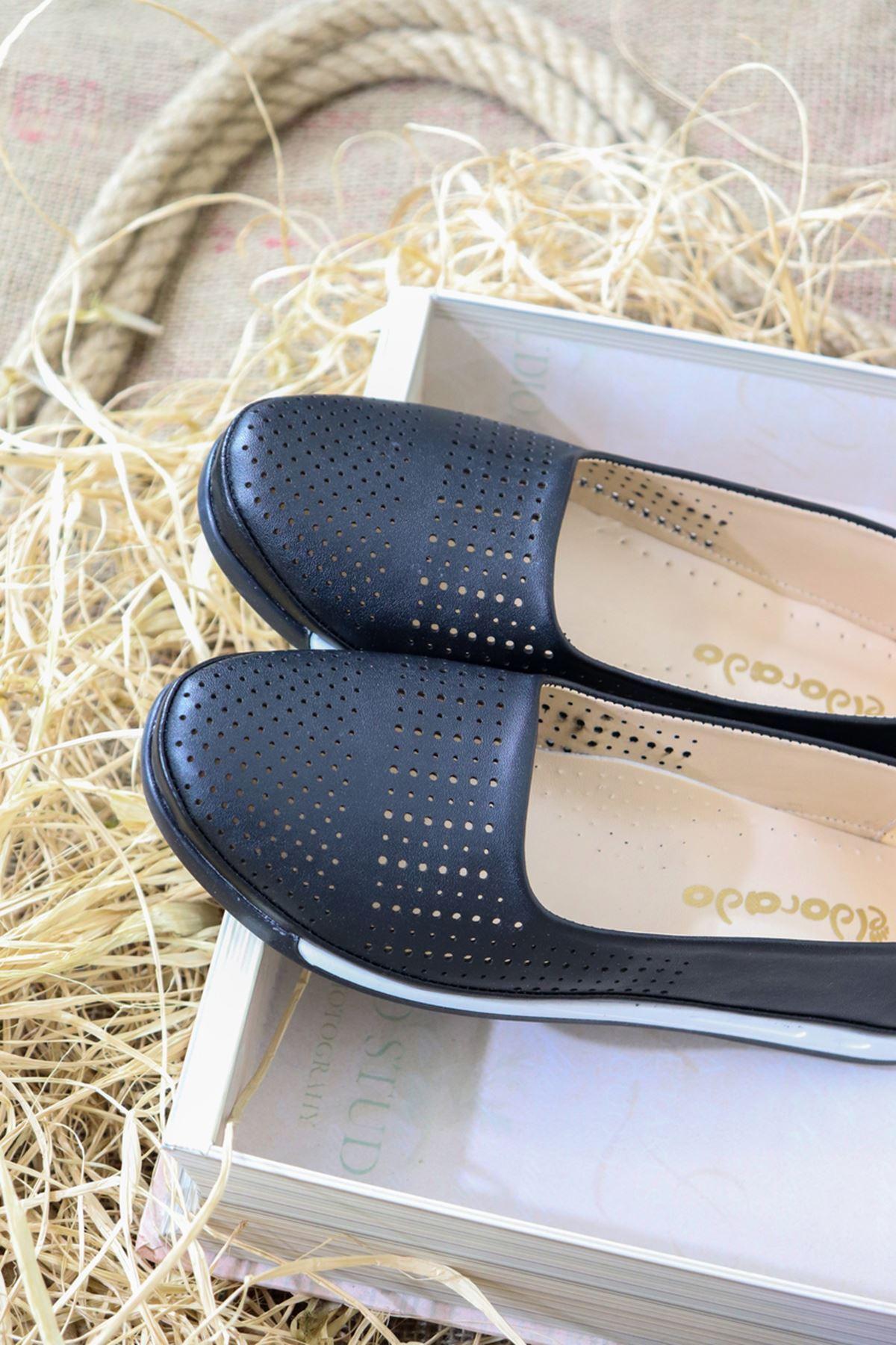 Trendayakkabı - Siyah Ortopedik Deri Ayakkabı