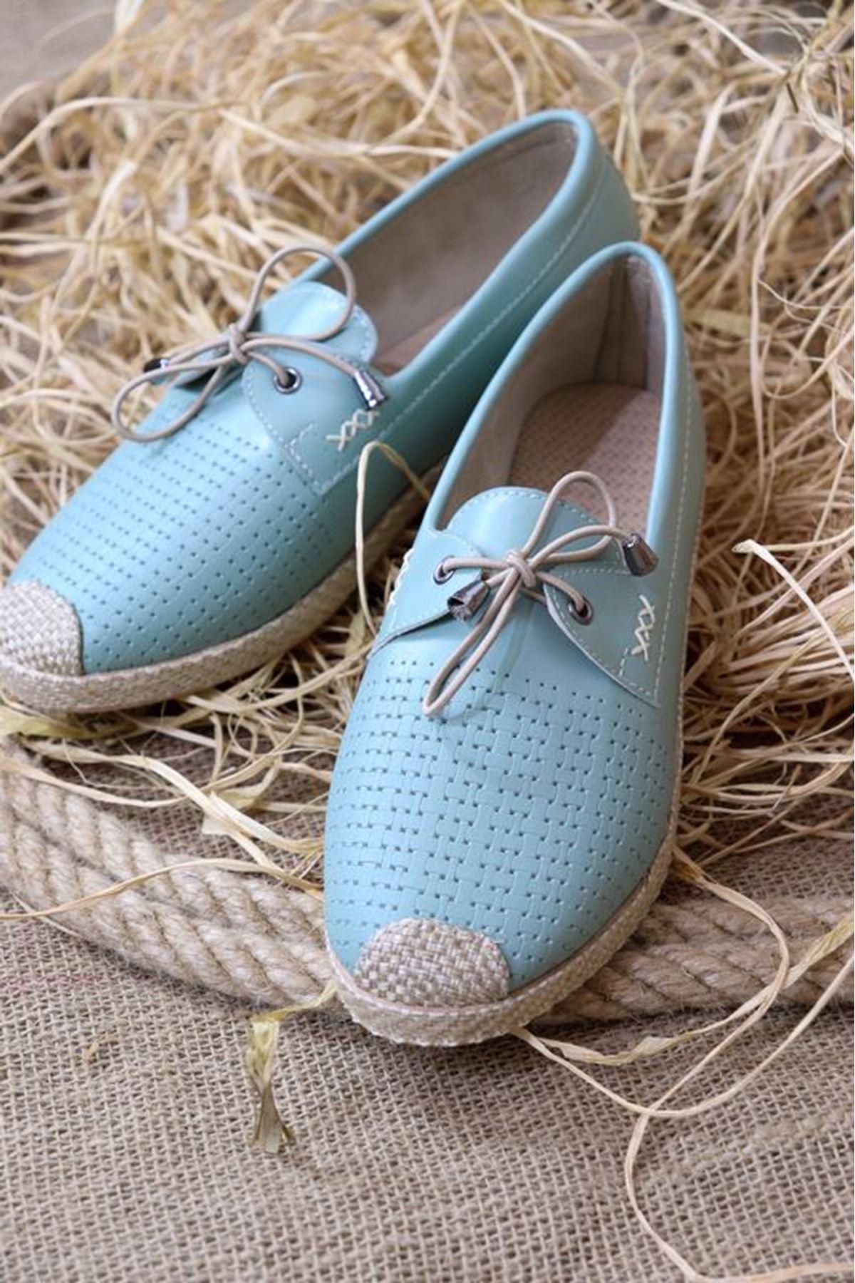Trendayakkabı - Su yeşili Hasır Taban kadın ayakkabısı