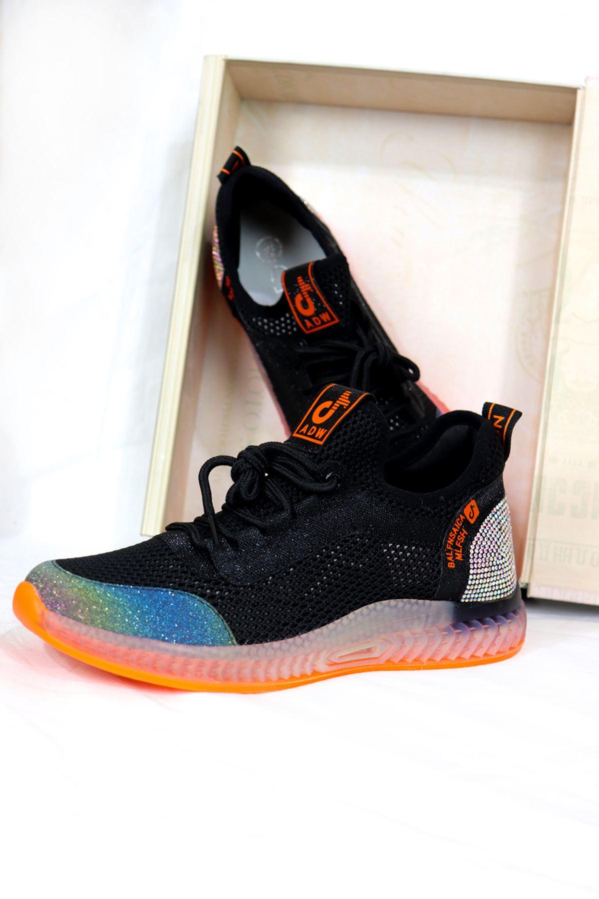 Guja - 21Y313-1 Siyah Turuncu Detaylı Kadın Spor Ayakkabısı