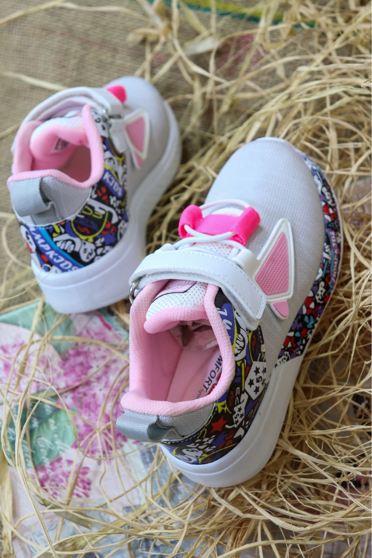 Jump - 26092 Gri Pembe Desenli Çocuk Spor Ayakkabısı