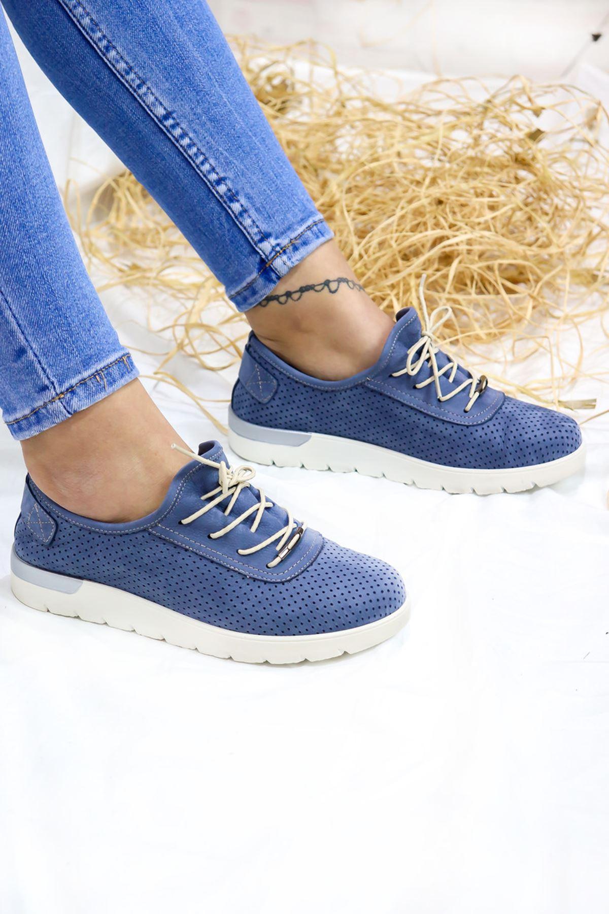 Trendayakkabı - 216 CMF - Mavi Nubuk Kadın Ayakkabısı