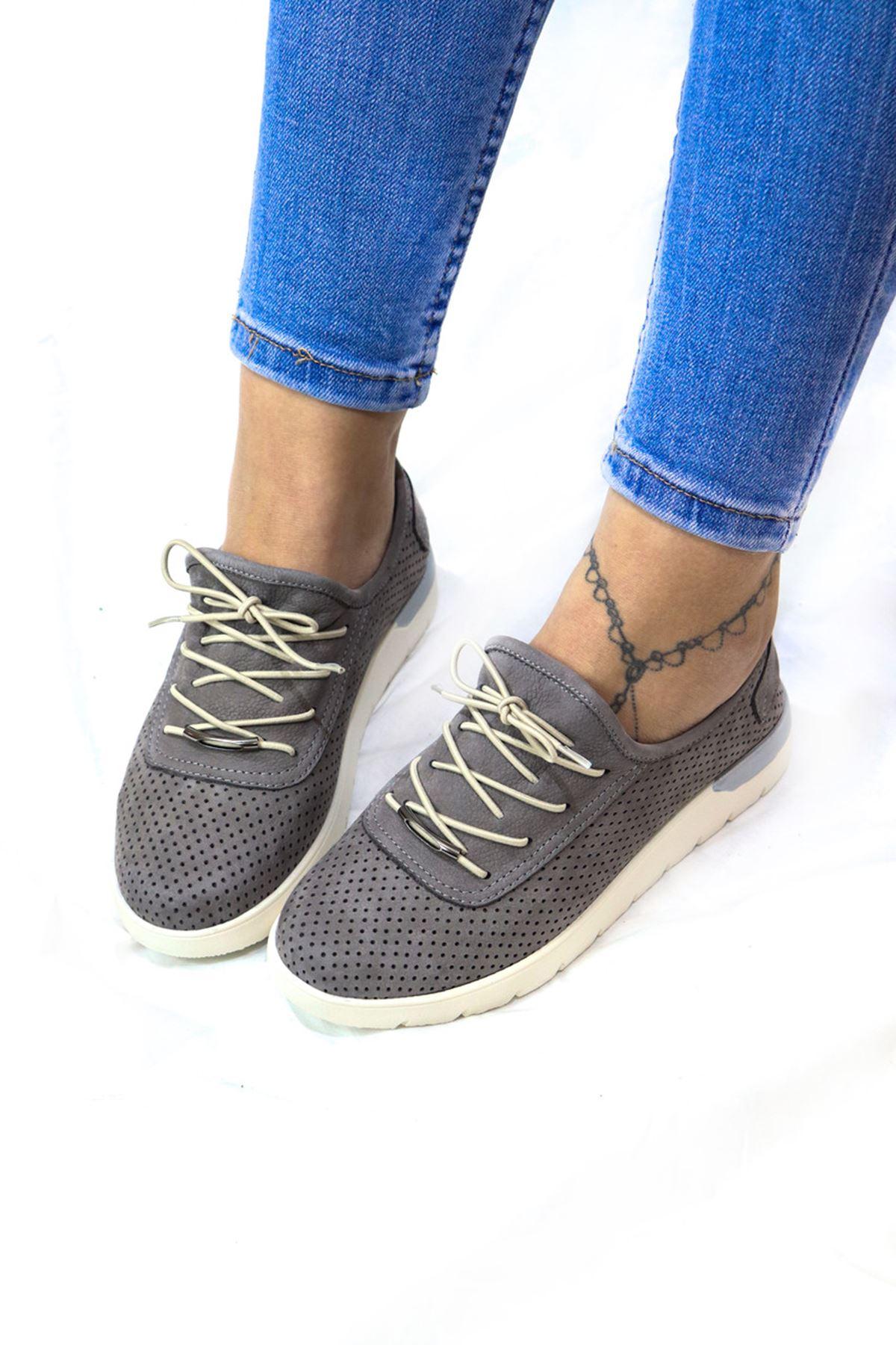Trendayakkabı - 216 CMF - Gren Nubuk Kadın Ayakkabısı