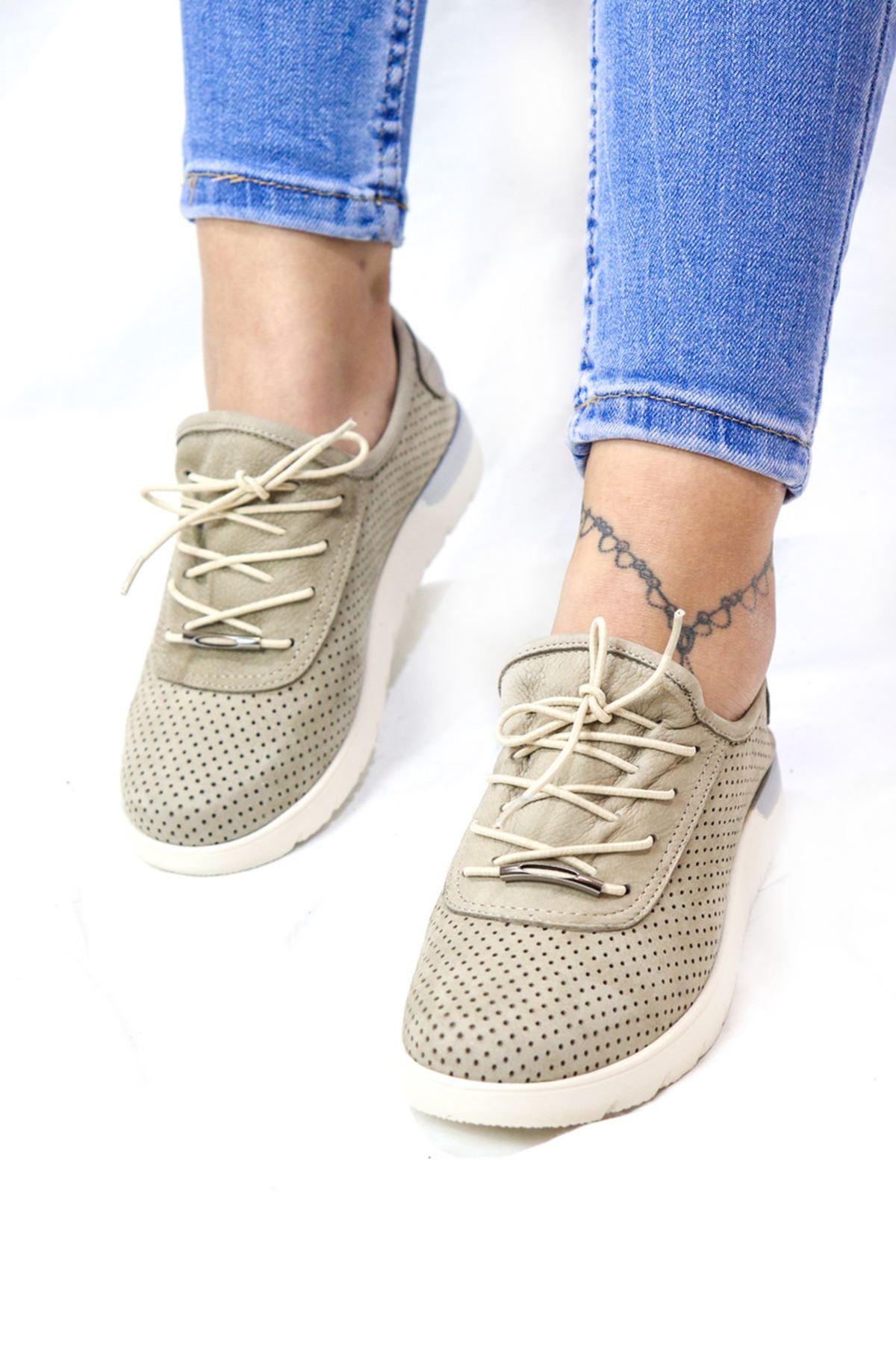 Trendayakkabı - 216 CMF - Vizon Nubuk Kadın Ayakkabısı