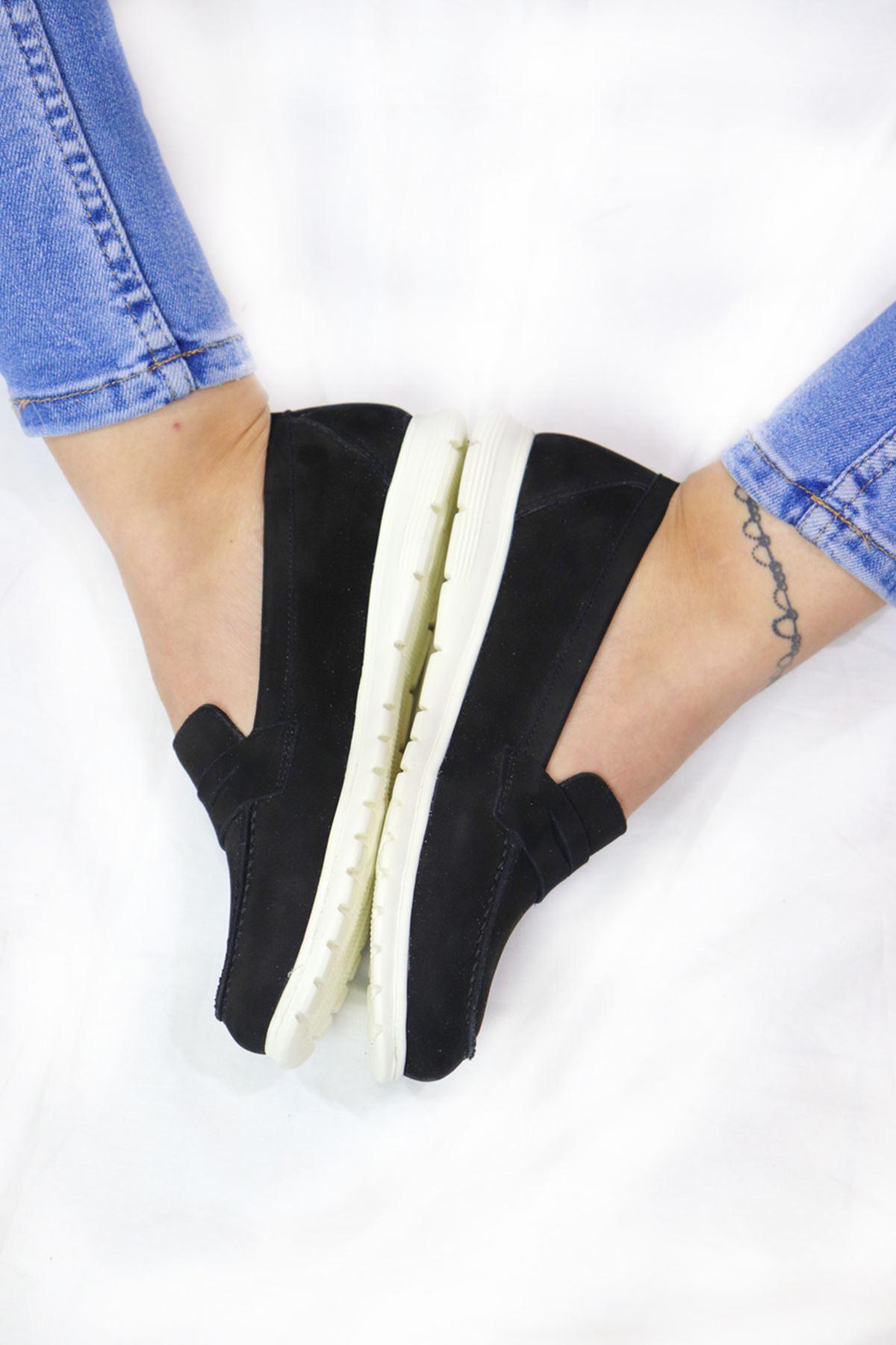 Trendayakkabı - 405 CMF - Siyah Nubuk Kadın Ayakkabısı