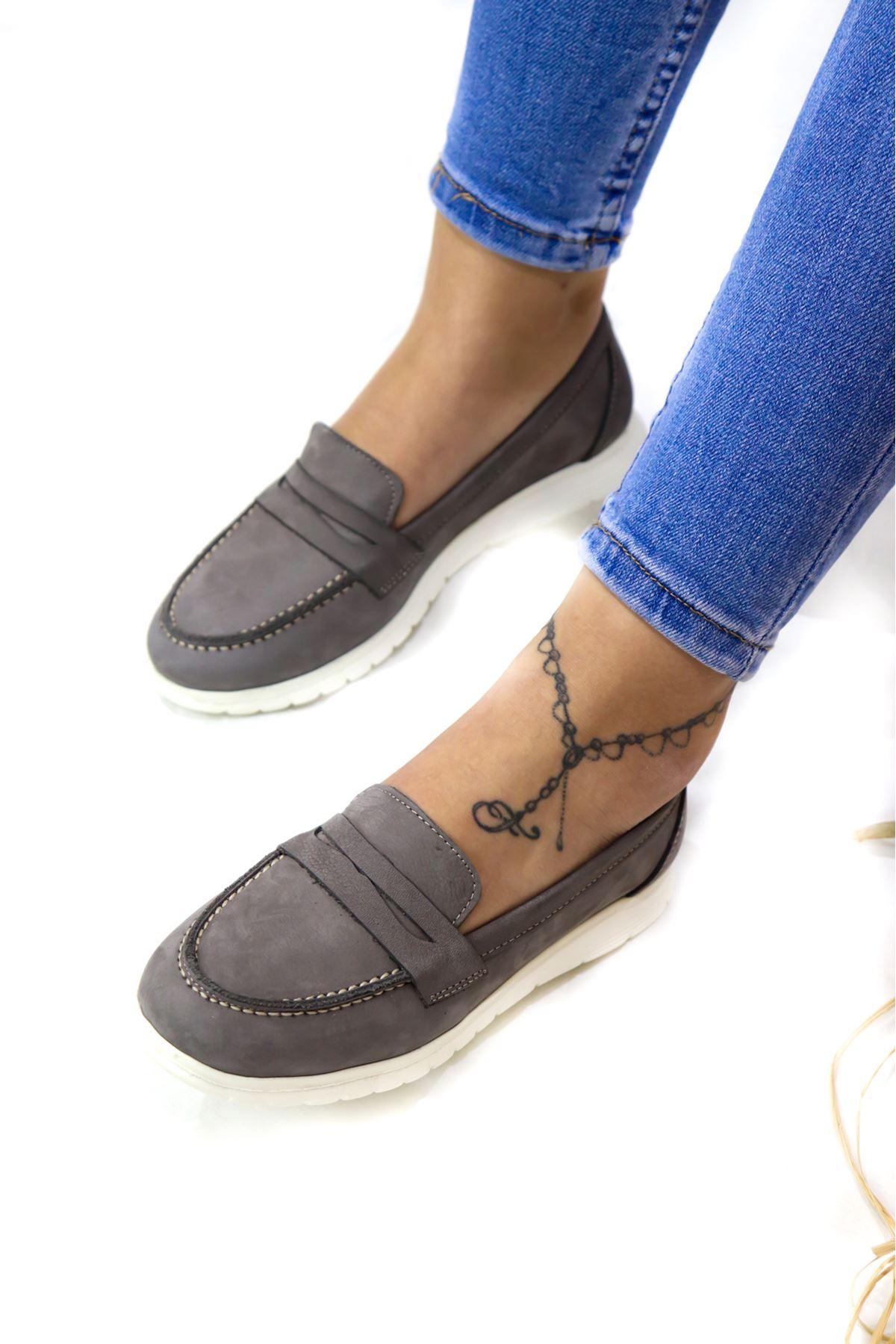 Trendayakkabı - 405 CMF - Grey Nubuk Kadın Ayakkabısı