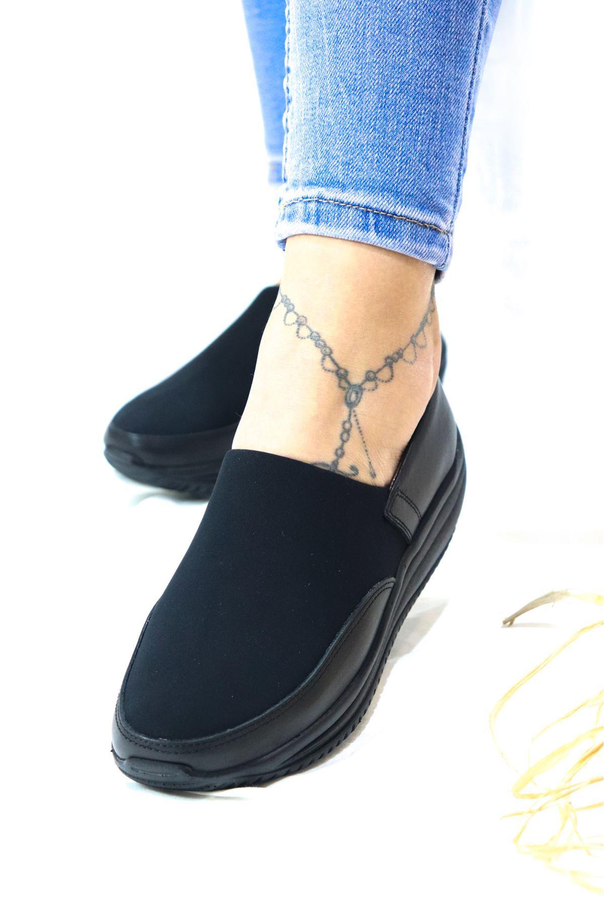 Capella - Siyah Dolgu Deri Kadın Ayakkabı