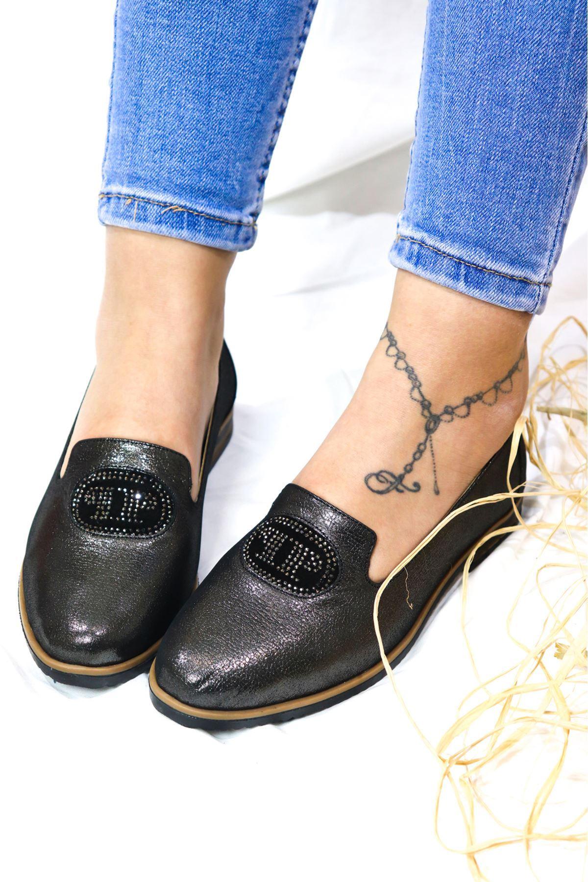 Marine shoes - 2043 Siyah Saten Babet