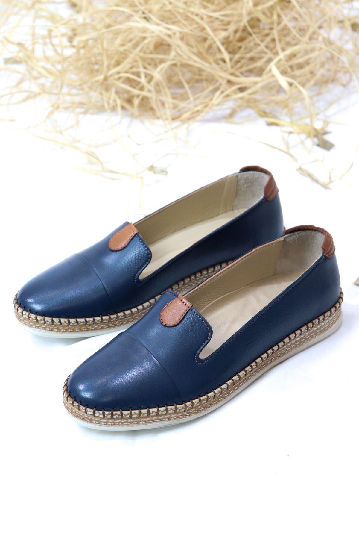 Marine Shoes - 21Y050-P01 Deri Babet Lacivert