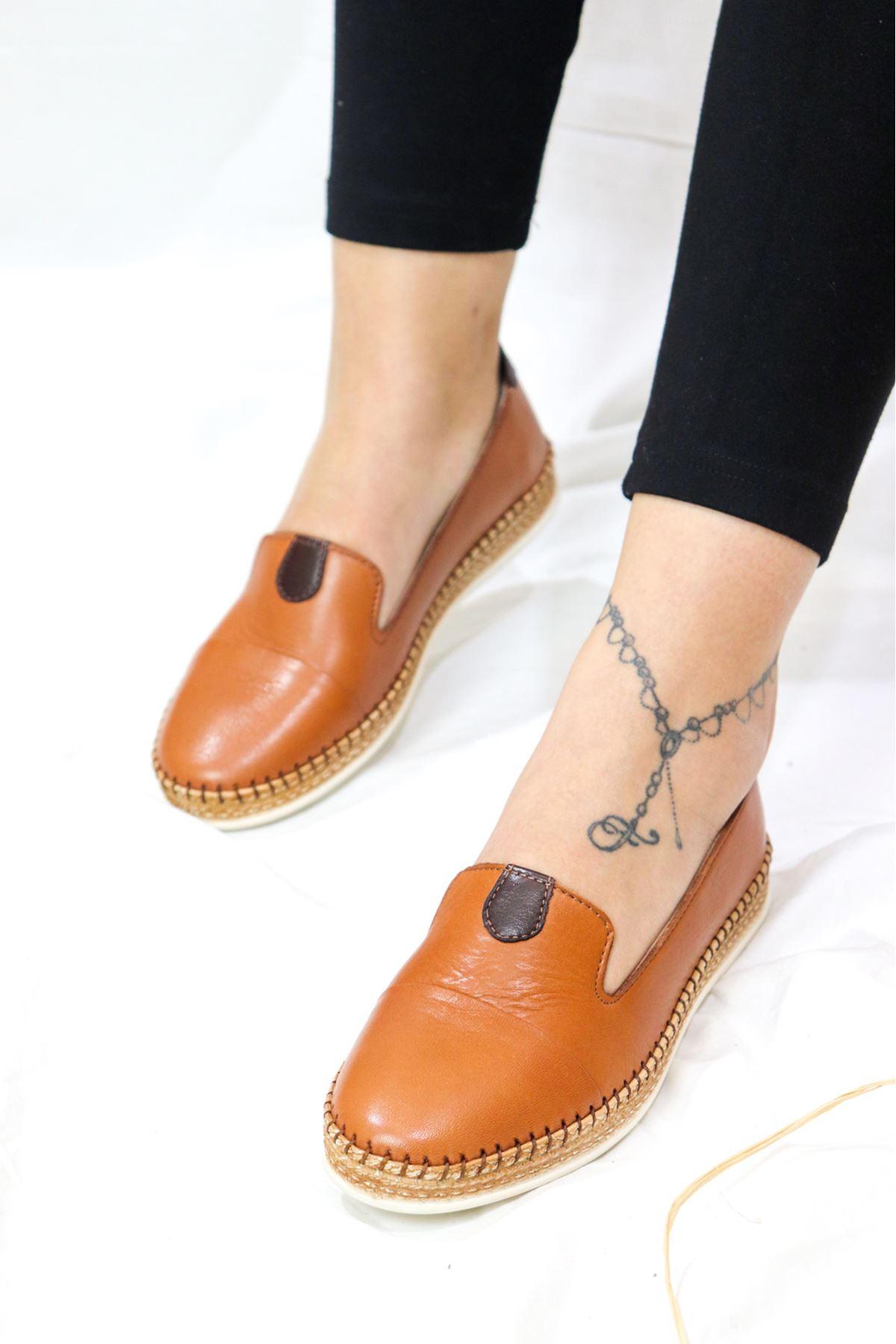 Marine Shoes - 21Y050-P01 Deri Babet Taba