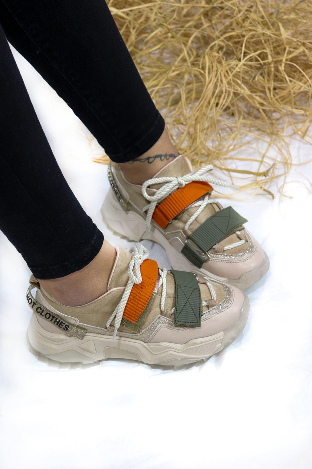 Trendayakkabı - Vizon Kadın Spor Ayakkabı