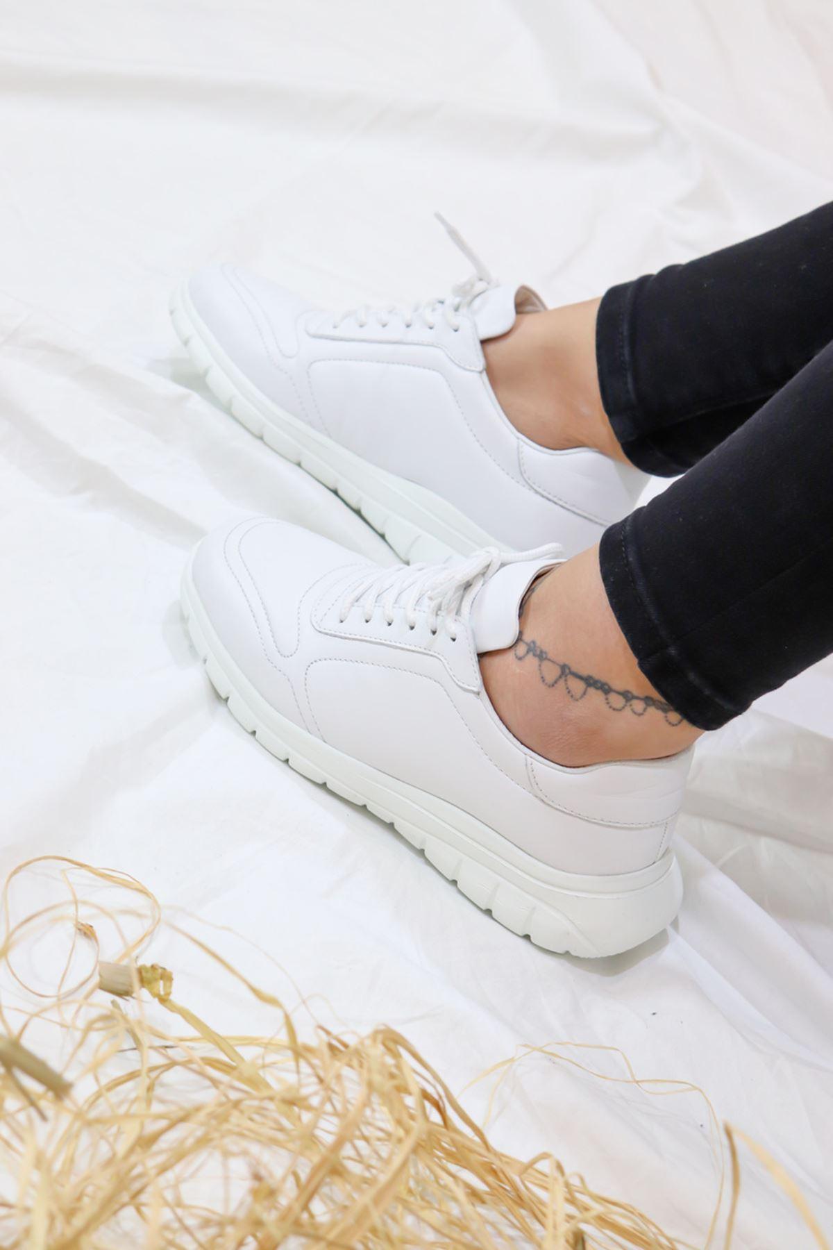 Libero - LZ3389 Beyaz Eva Hazır Antik Kadın Spor Ayakkabısı