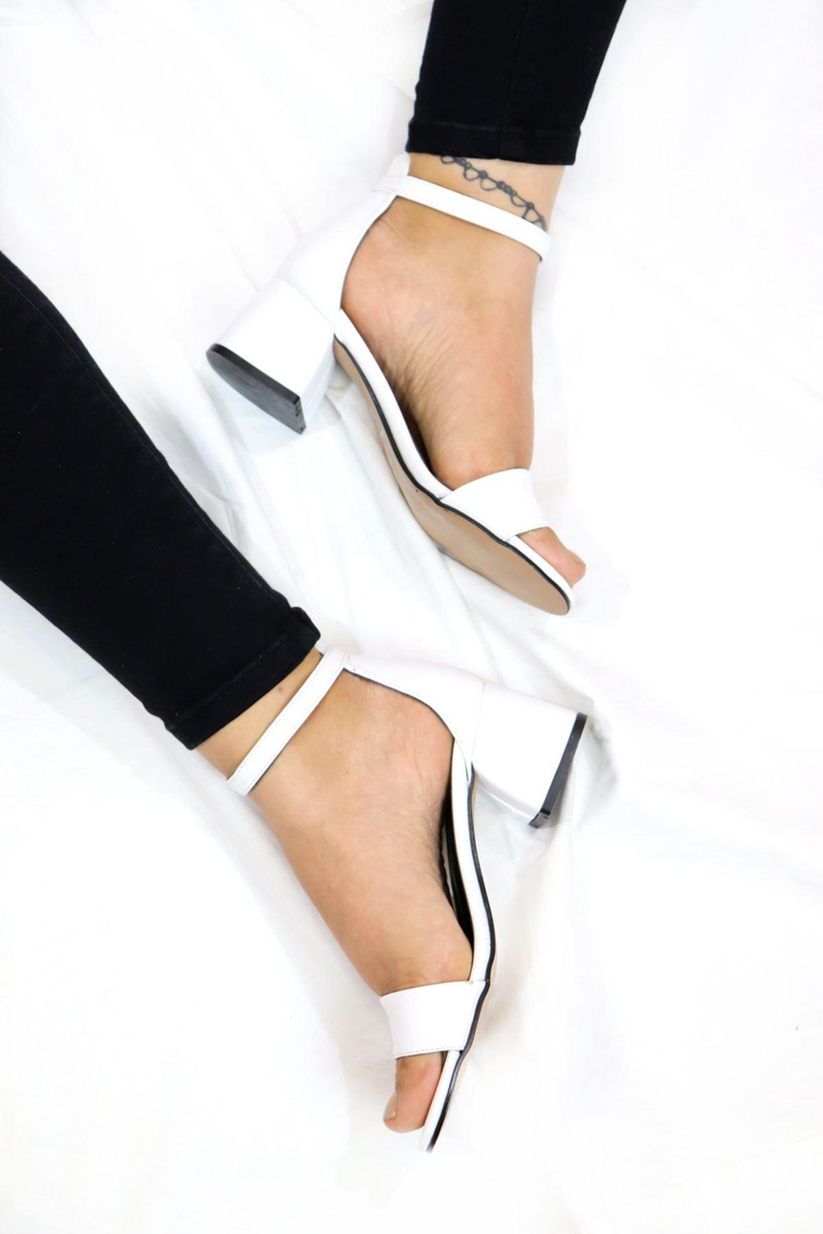 Feles - Tek Bantlı Kadın Topuklu Ayakkabı Beyaz