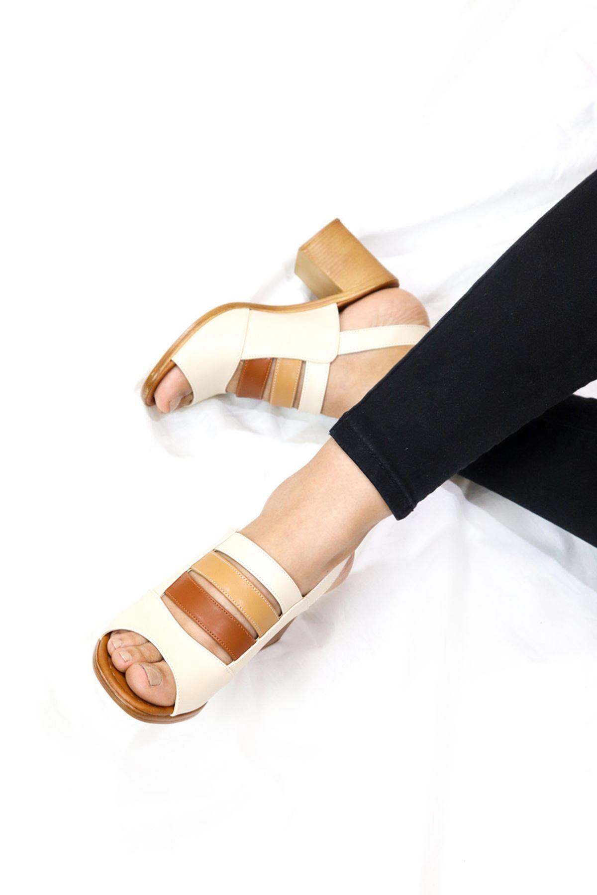 Feles - Kafes Tasarım Kadın Topuklu Ayakkabı Bej