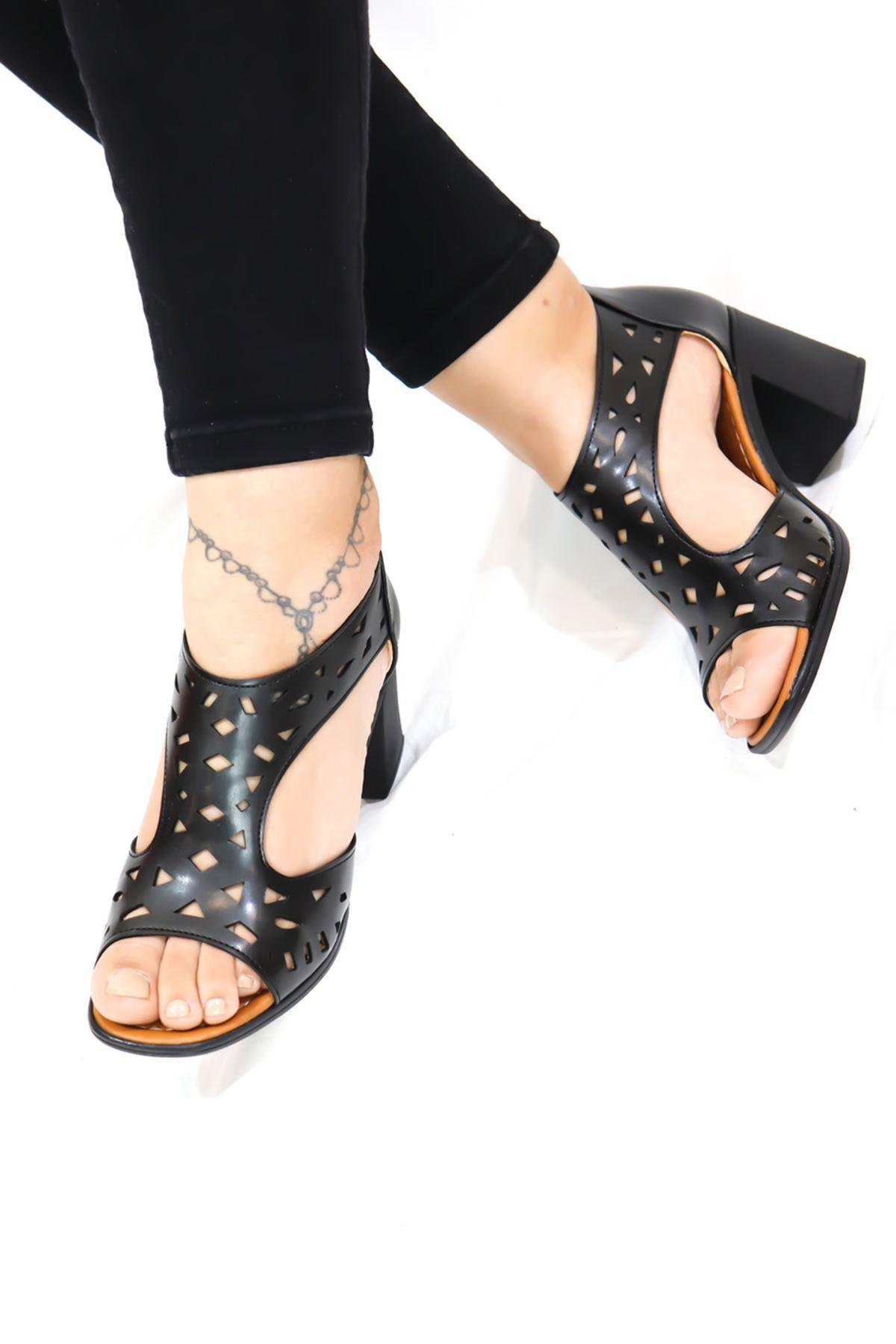 Feles - Siyah Kafes Tasarım Kadın Topuklu Ayakkabı