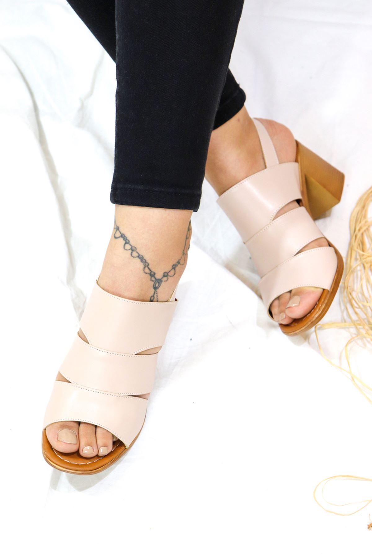 Feles - Kafes Tasarım Kadın Topuklu Ayakkabı krem