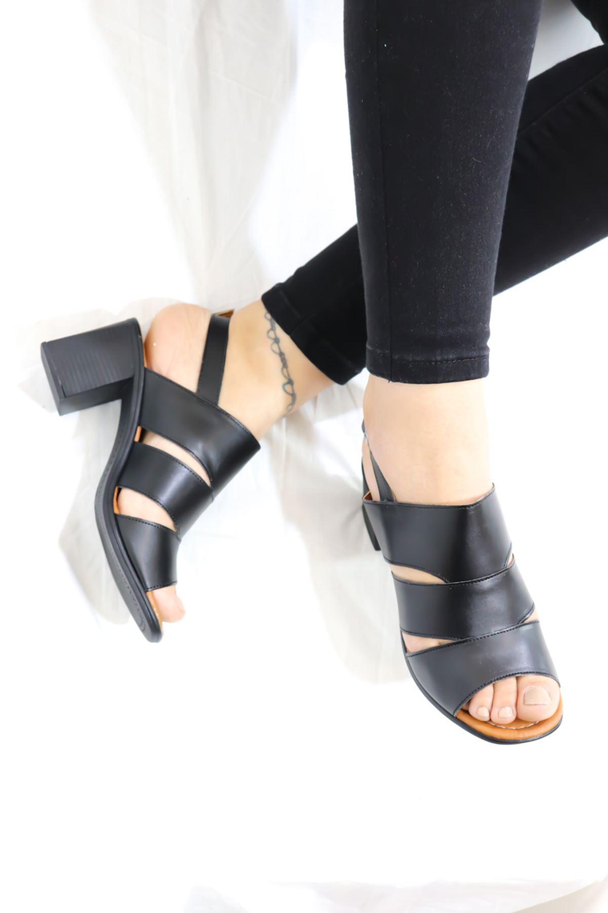 Feles - Kafes Tasarım Kadın Topuklu Ayakkabı Siyah 1