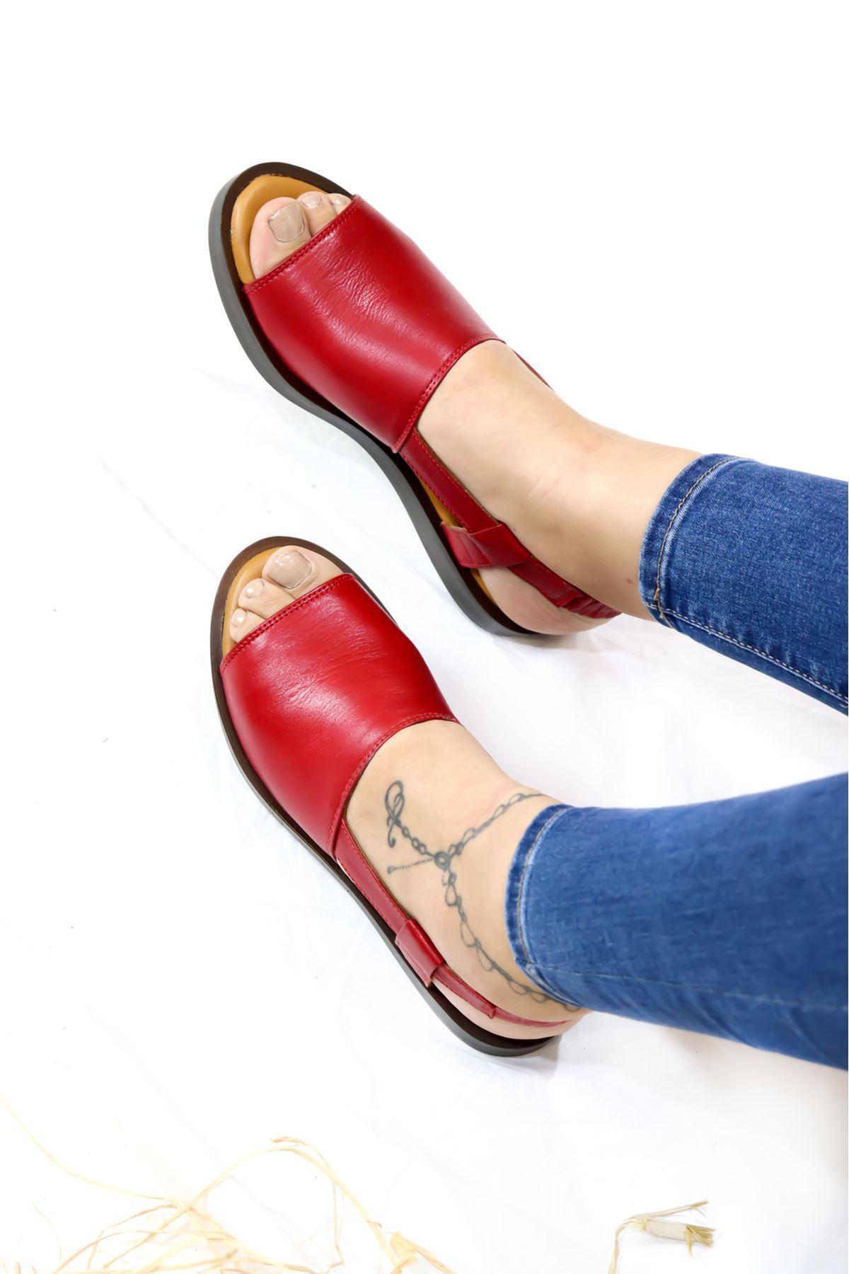 Trendayakkabı - 21Y116397 Kırmızı Kadın Sandalet