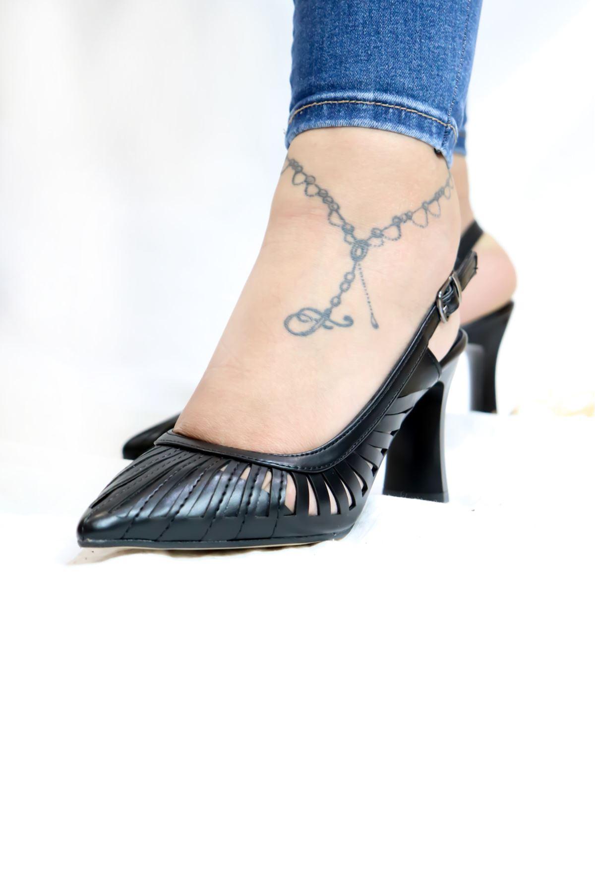 Elid Moda - Siyah arkası açık topuklu ayakkabı