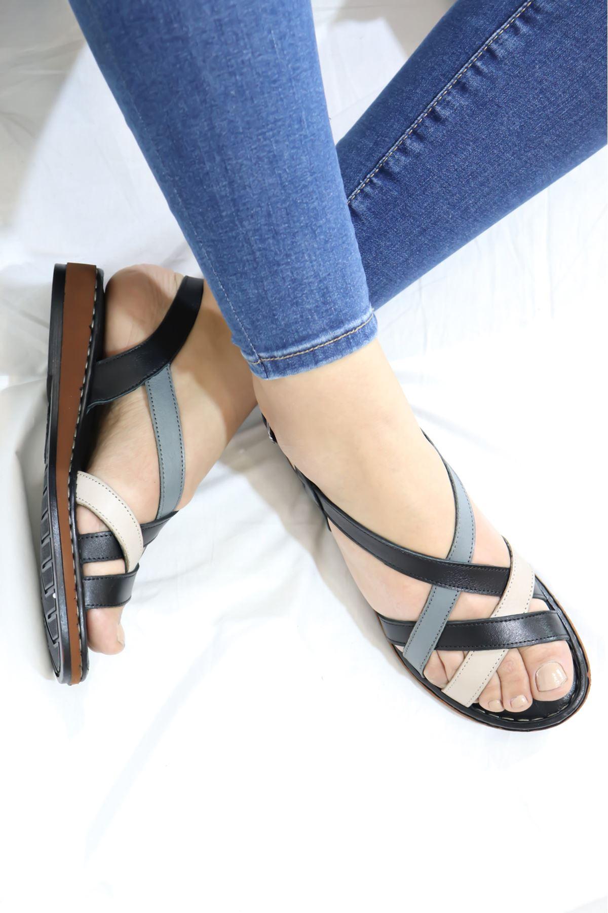 Venüs - 20981202 Siyah Kadın Sandalet