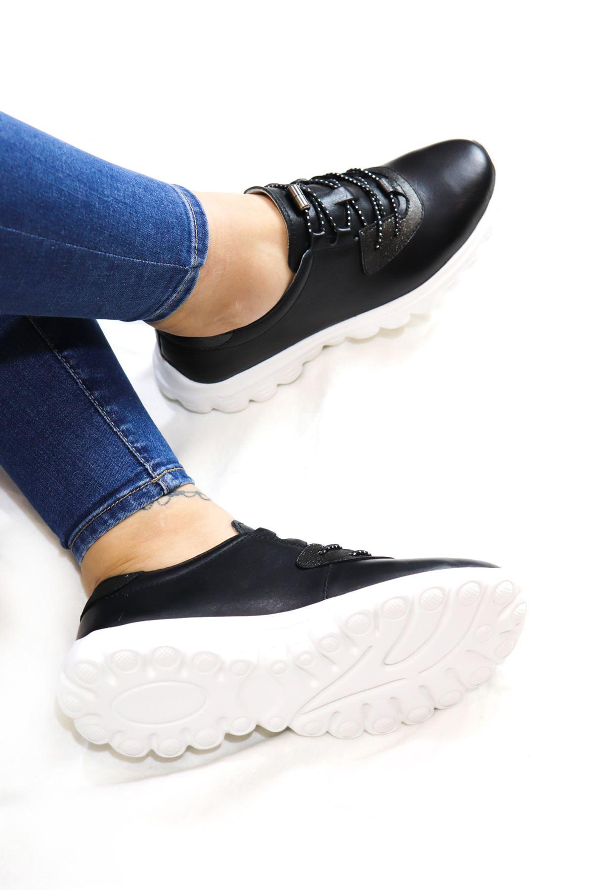 Libero - Dİ2017  Siyah Hakiki Deri Kadın Spor Ayakkabı