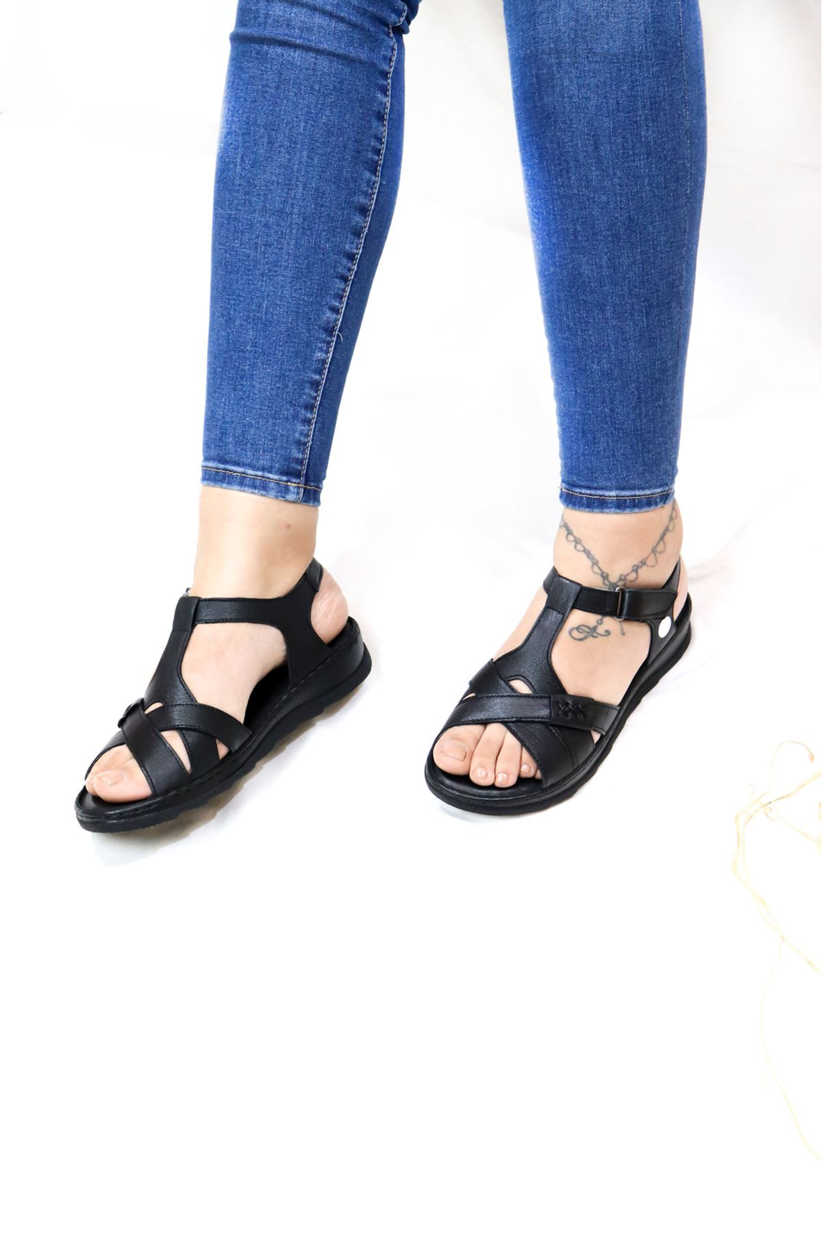 Mammamia - D21YS -1145-B Siyah Kadın Sandalet