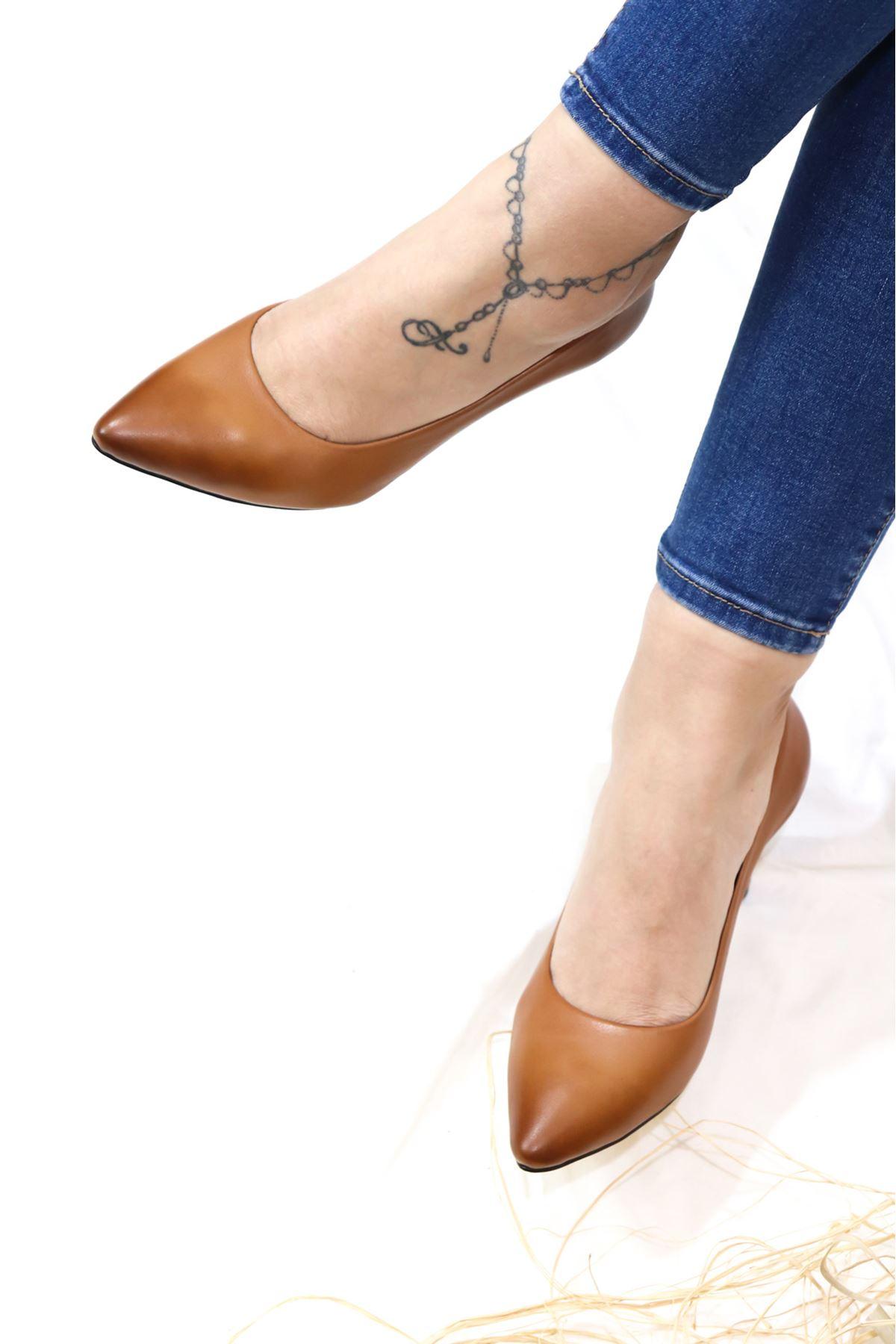 Trendayakkabı - Taba Hakiki Deri Kadın Topuklu Ayakkabı
