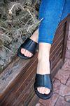Ceyo - 9200-3 Siyah Detaylı Ortopedik Kadın Terlik